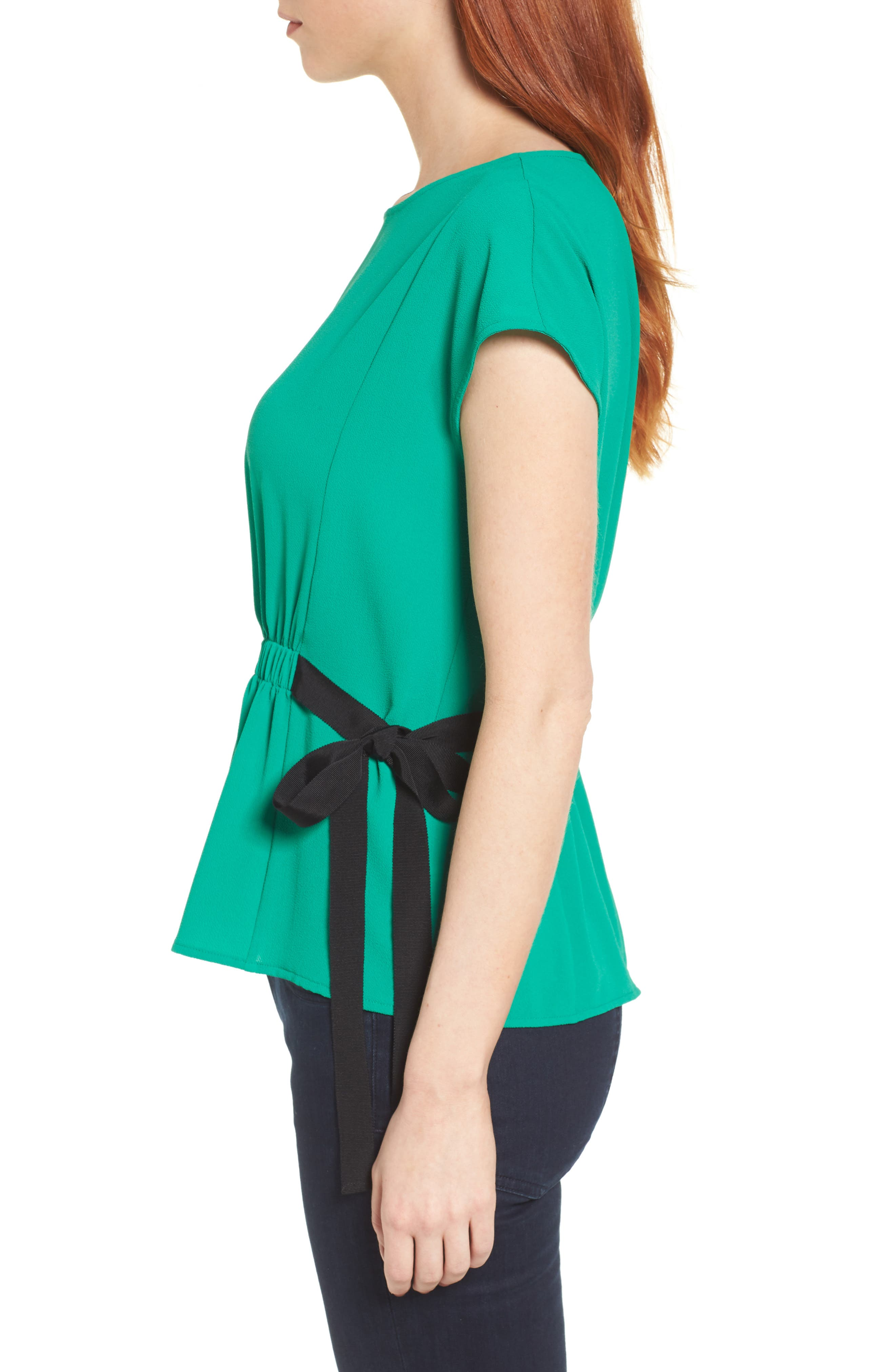 Gathered Waist Side Tie Top,                             Alternate thumbnail 3, color,                             Kelly Green With Black Tie