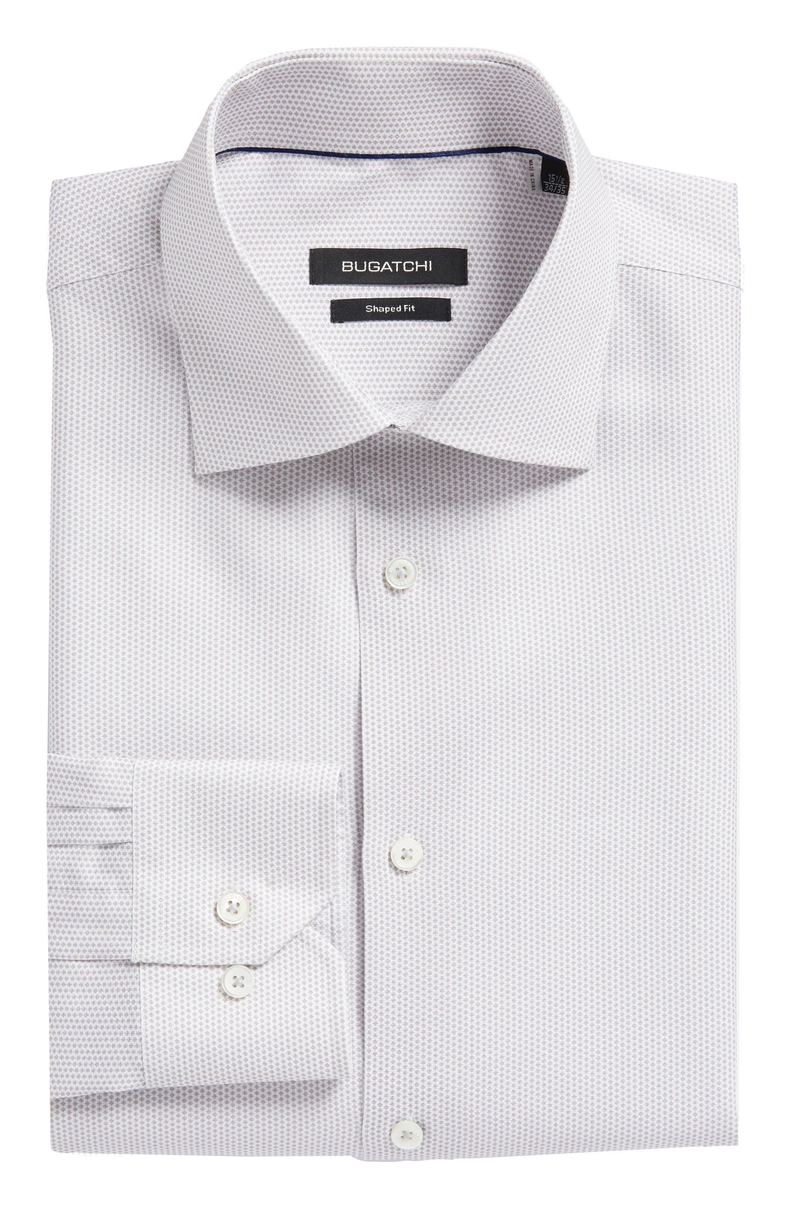 Trim Fit Geometric Dress Shirt,                             Main thumbnail 1, color,                             Platinum