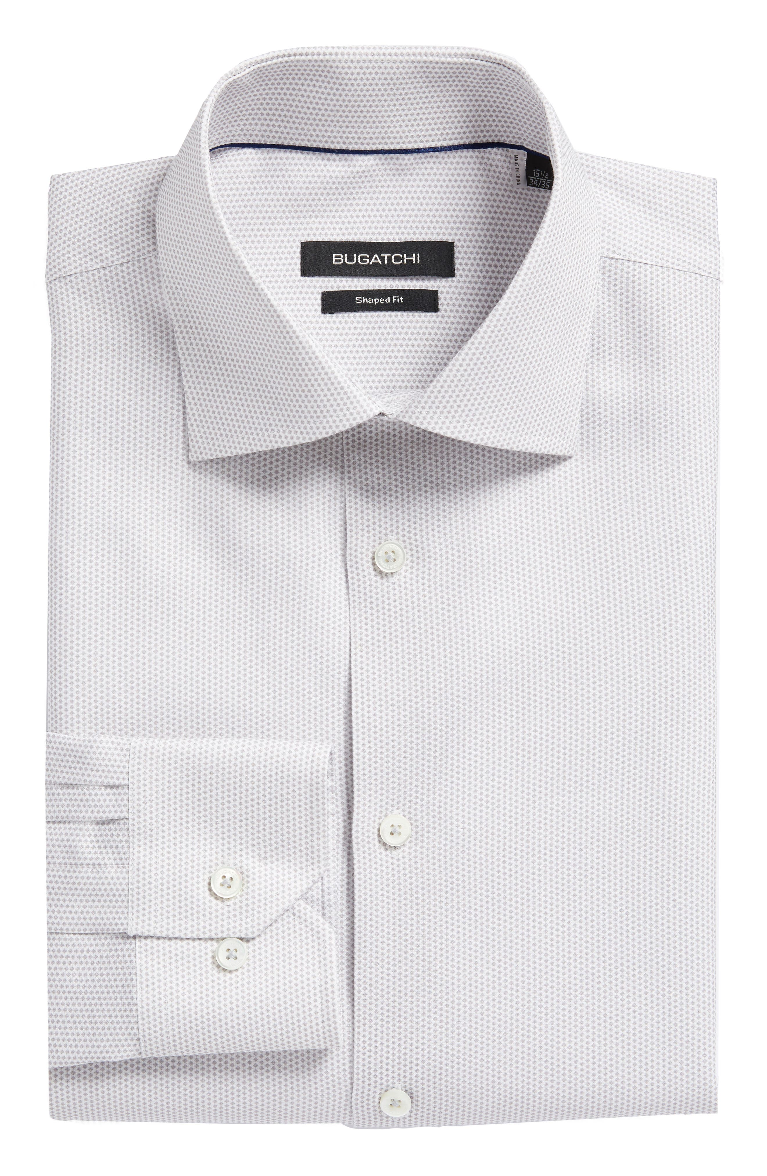Trim Fit Geometric Dress Shirt,                         Main,                         color, Platinum