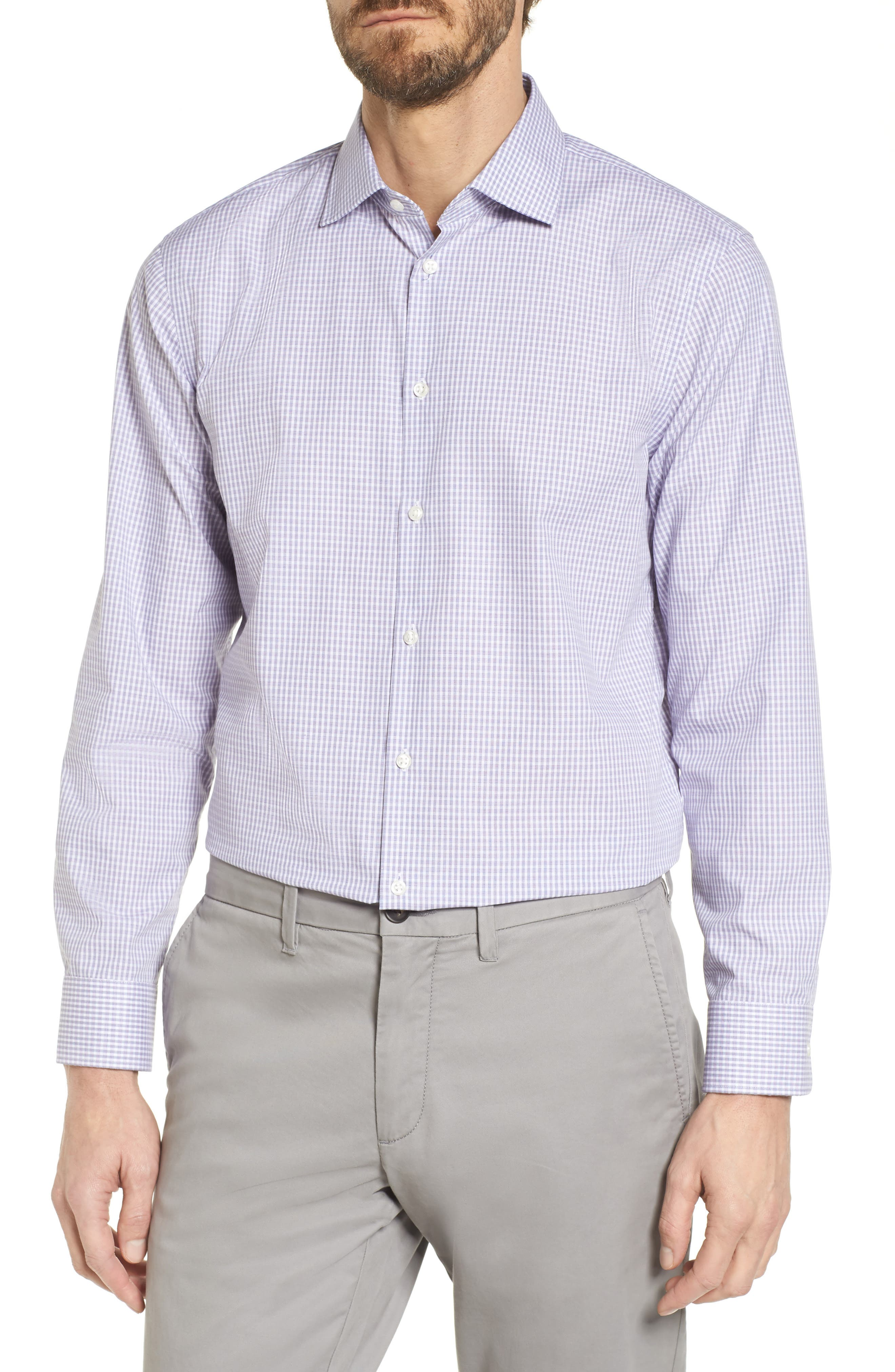 Alternate Image 1 Selected - Nordstrom Men's Shop Extra Trim Fit Non-Iron Check Dress Shirt