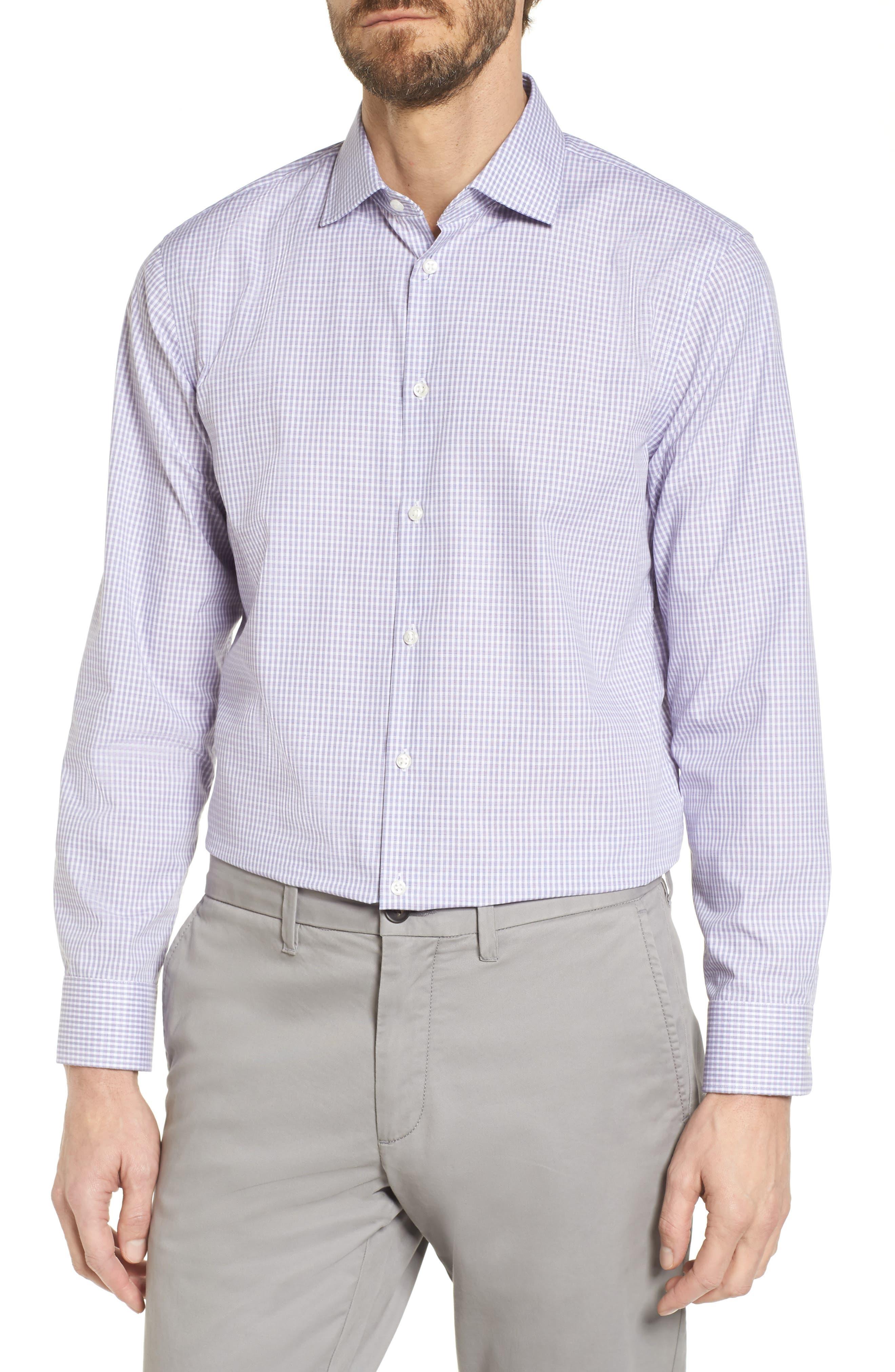 Extra Trim Fit Non-Iron Check Dress Shirt,                         Main,                         color, Purple English