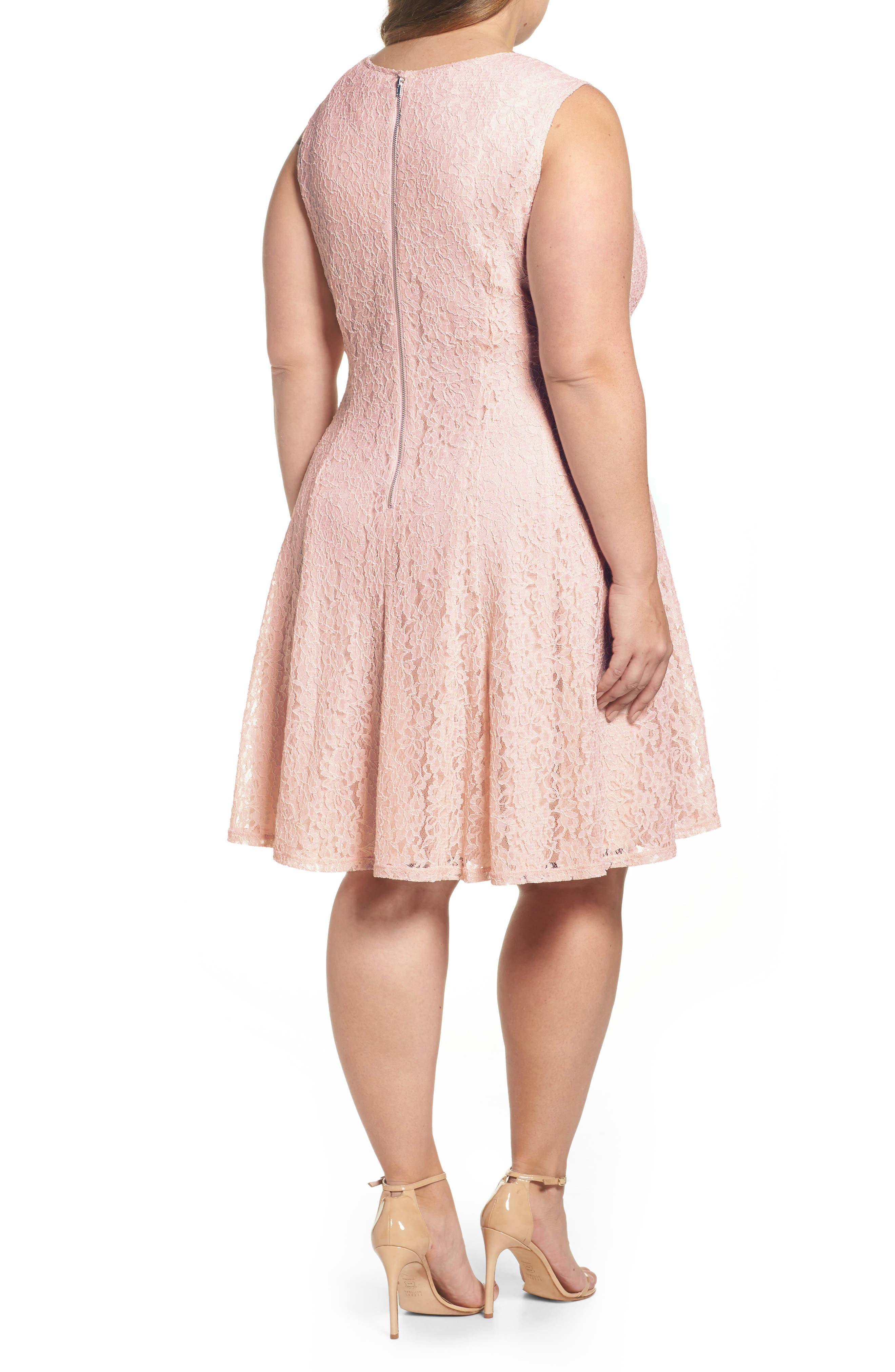 Lace Teardrop Cutout Fit and Flare Dress,                             Alternate thumbnail 2, color,                             Pink/ Pink