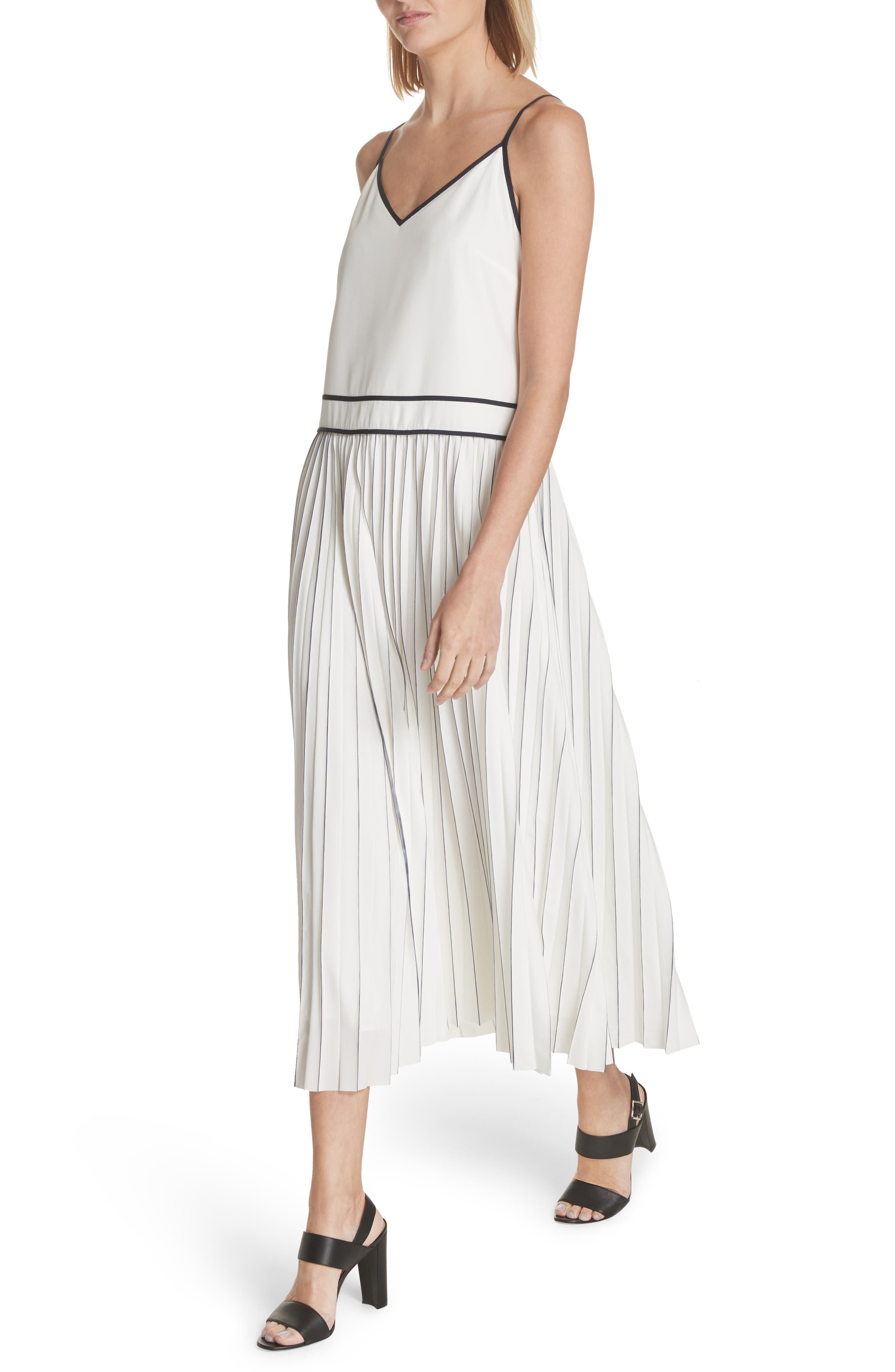 Silk Pleated Skirt Midi Dress,                             Alternate thumbnail 4, color,                             Cloud Multi