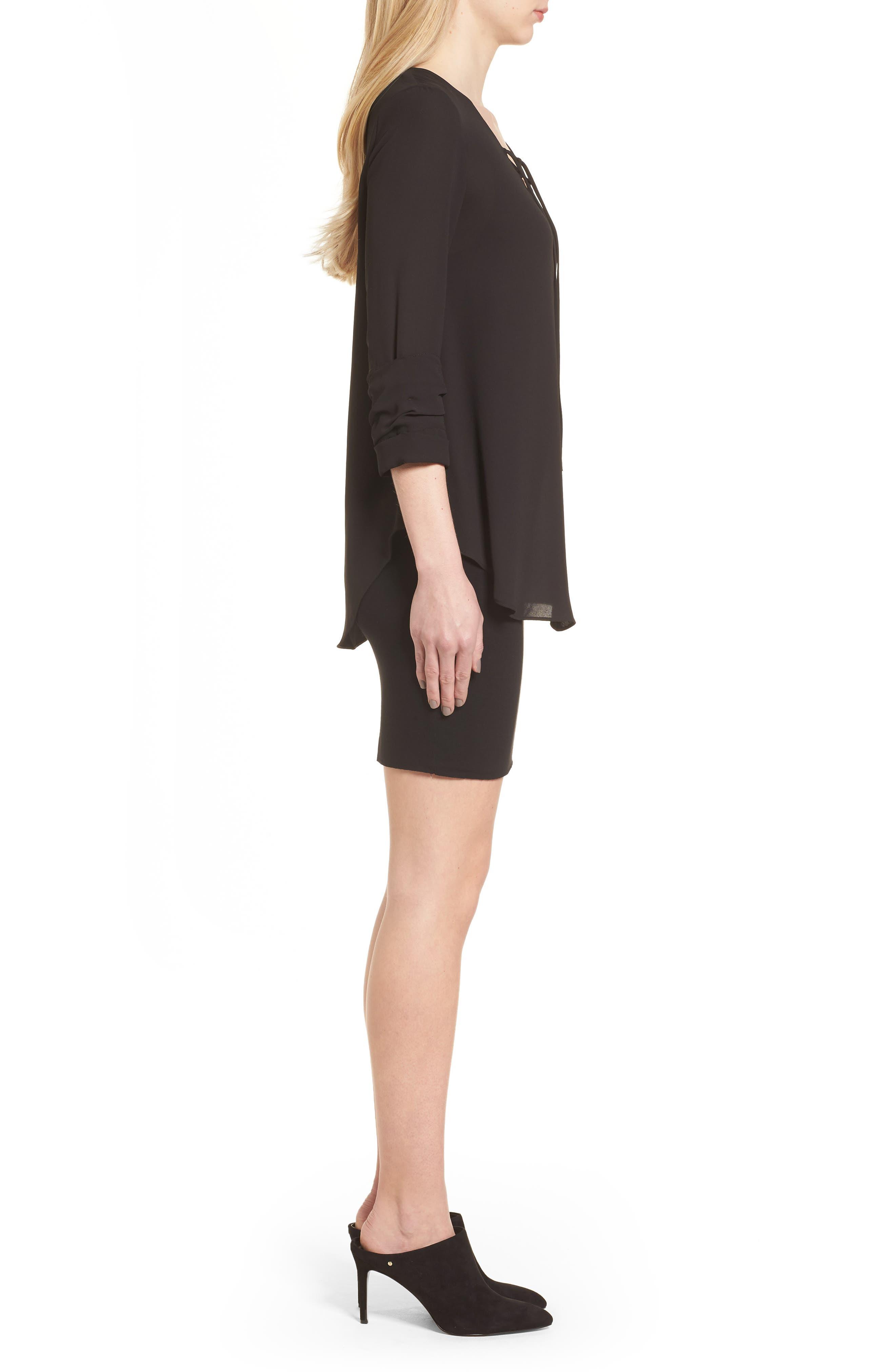 Bento Faux Layered Dress,                             Alternate thumbnail 3, color,                             Black
