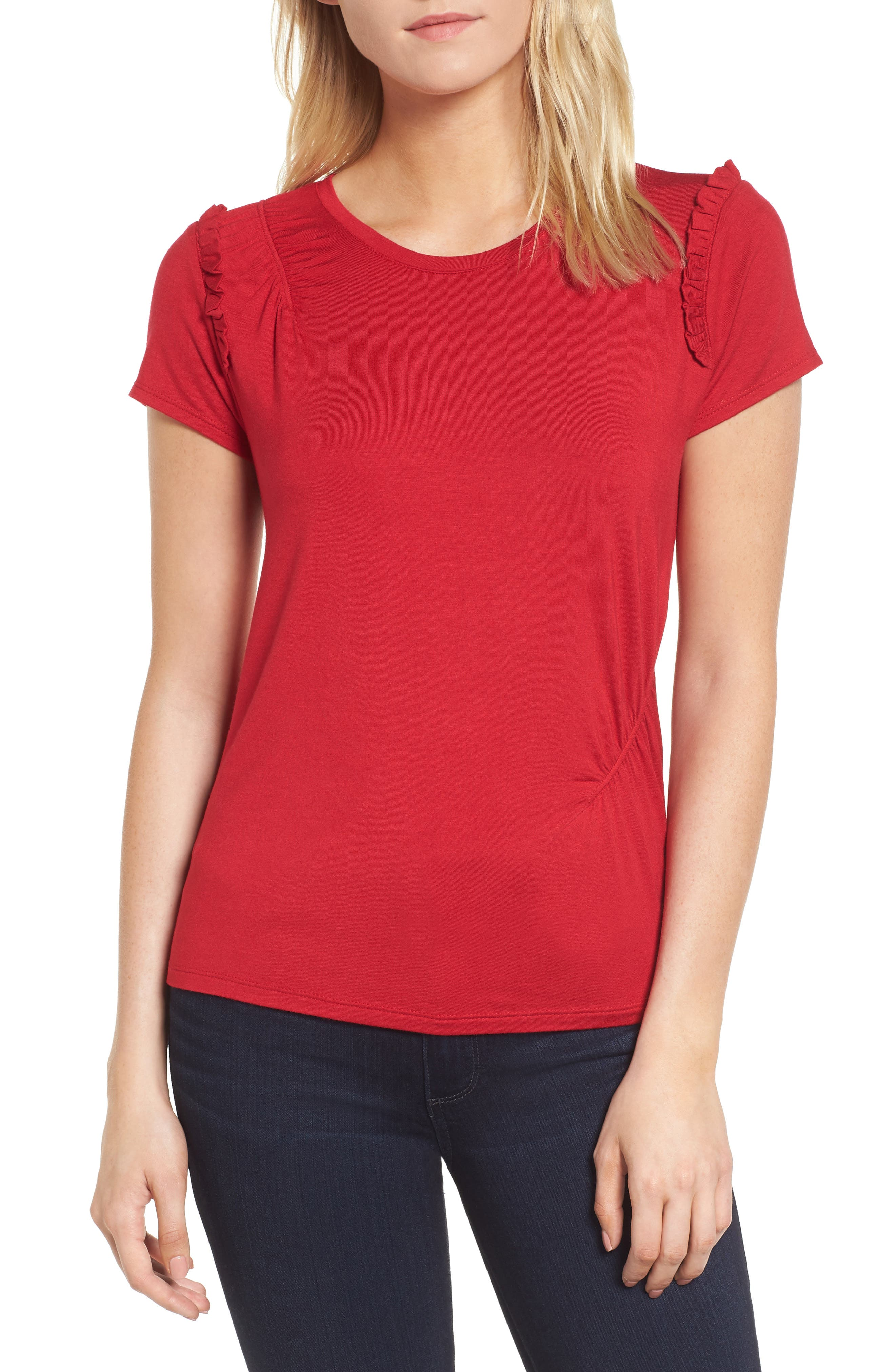 Ruffle Cap Sleeve Tee,                             Main thumbnail 1, color,                             Red Lipstick