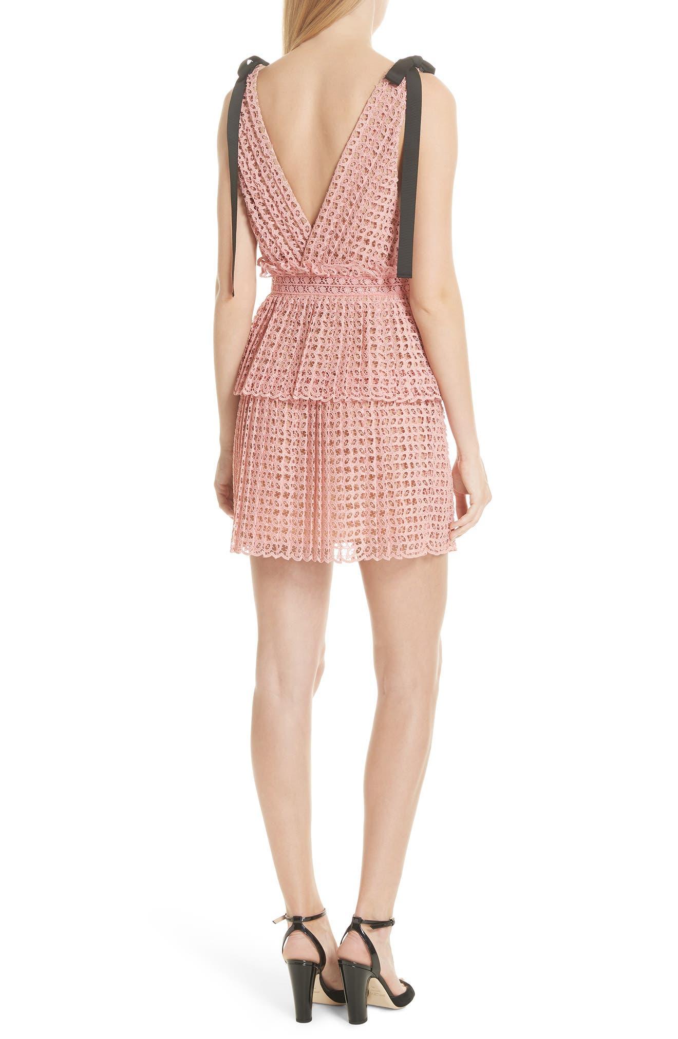 Tie Strap Cutwork Organza Dress,                             Alternate thumbnail 2, color,                             Pink
