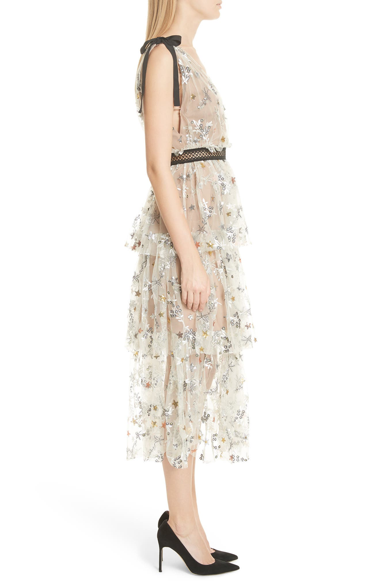 Alternate Image 3  - Self-Portrait Sequin Mesh Tie Strap Midi Dress