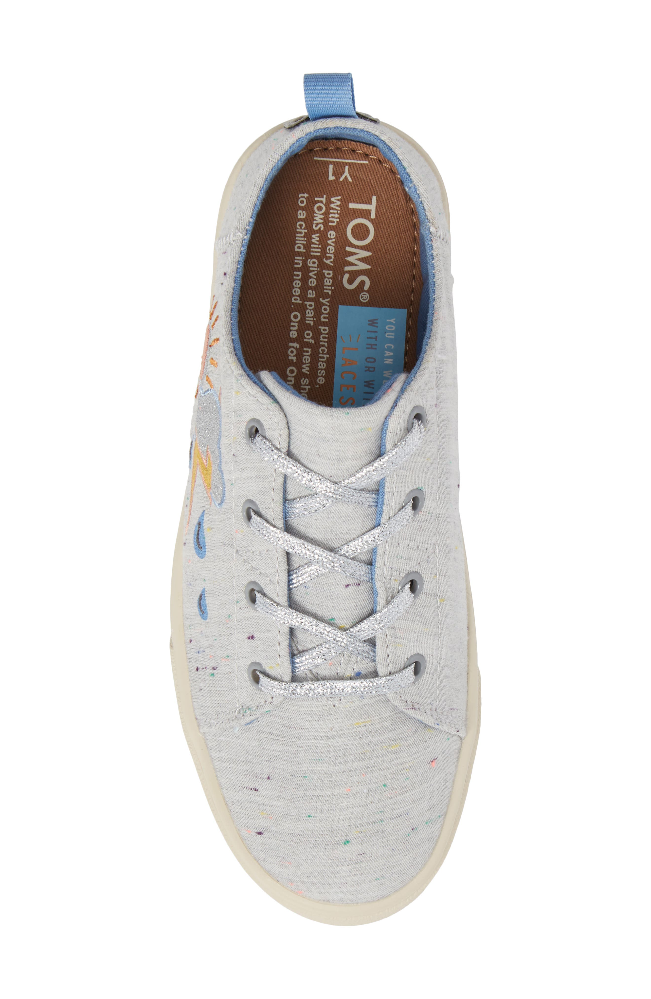 Lenny Embroidered Sneaker,                             Alternate thumbnail 5, color,                             Grey Multi Drizzly Weather