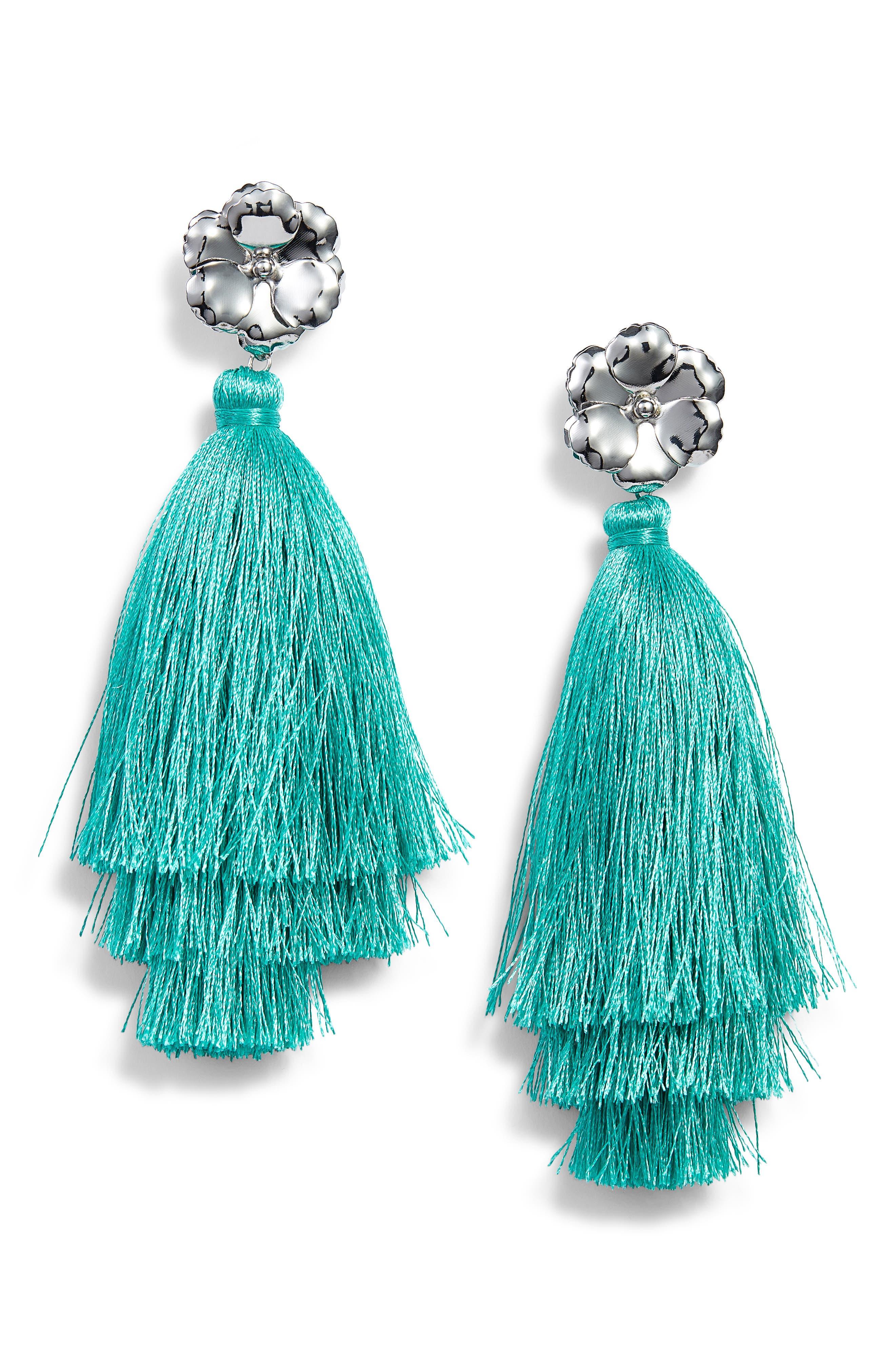 Halogen Floral Tassel Drop Earrings,                             Main thumbnail 1, color,                             Teal- Rhodium