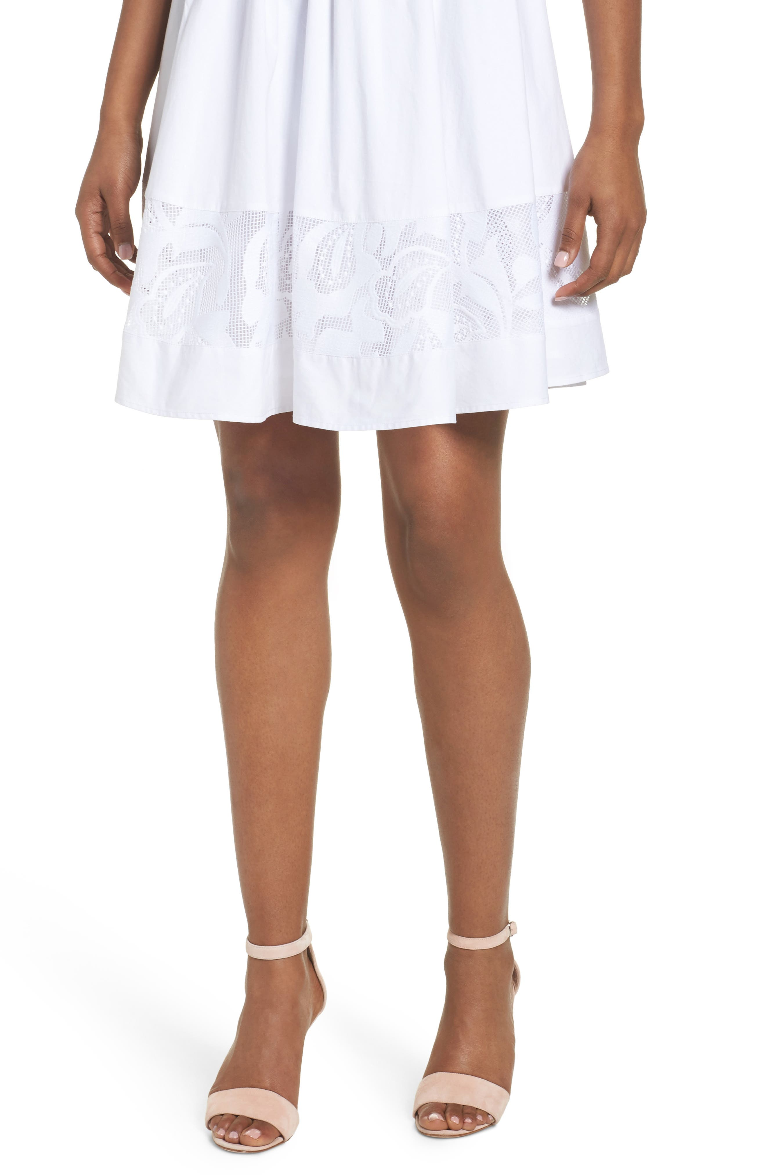 Lace Fit & Flare Dress,                             Alternate thumbnail 4, color,                             White Snow
