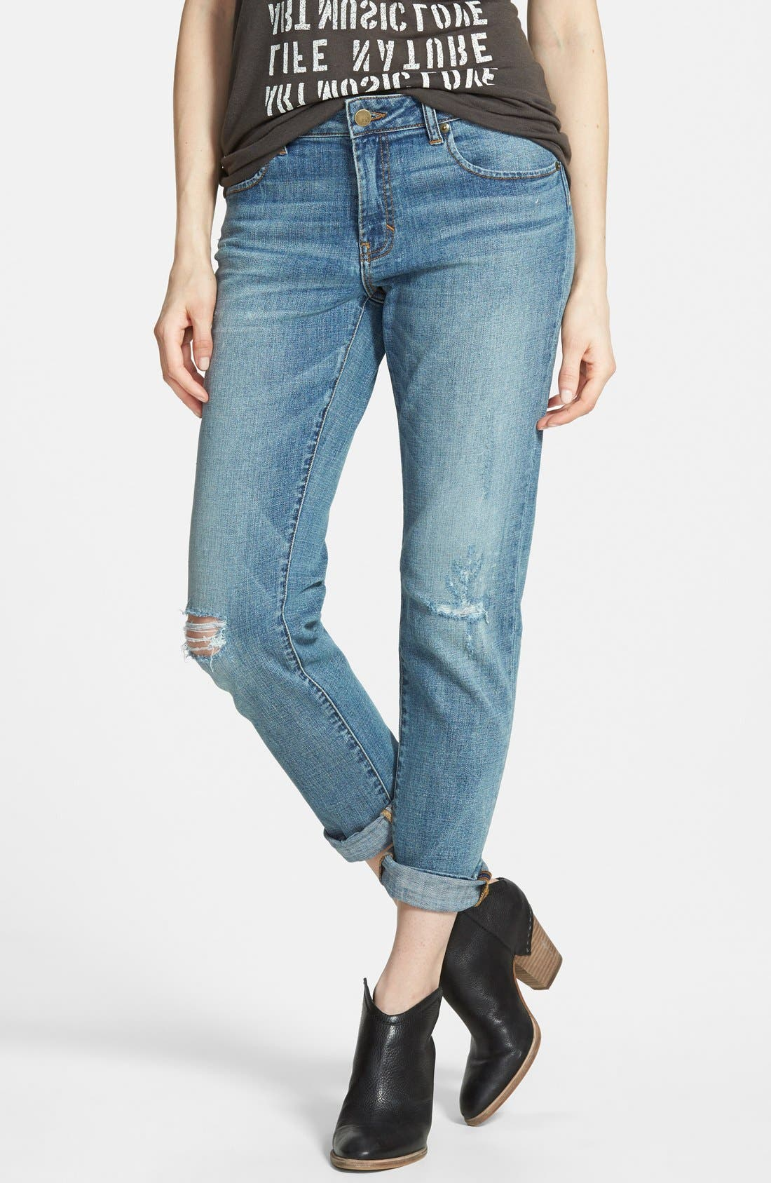 Alternate Image 1 Selected - BP. Girlfriend Jeans (Mystic Blue Distressed)