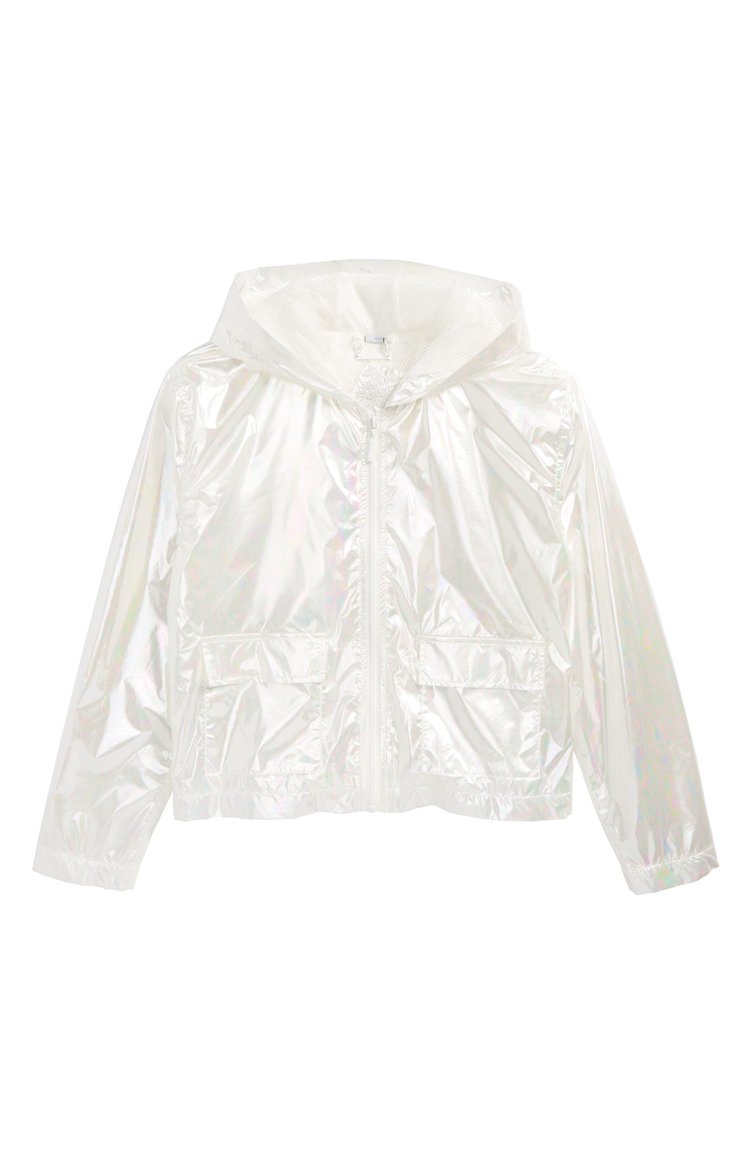 Iridescent Hooded Windbreaker,                             Main thumbnail 1, color,                             White