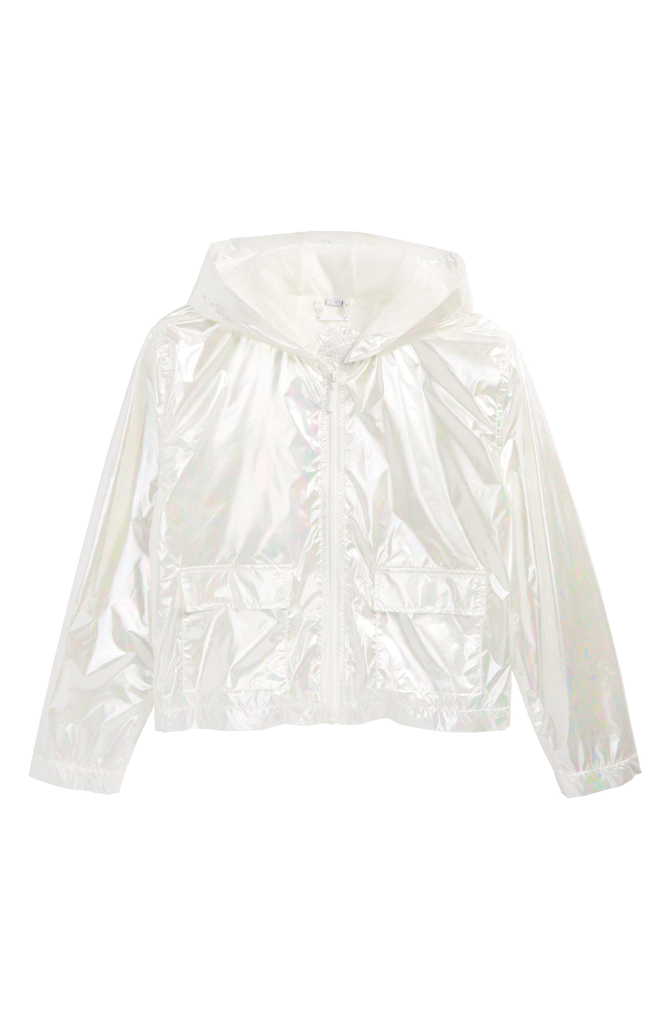 Iridescent Hooded Windbreaker,                         Main,                         color, White