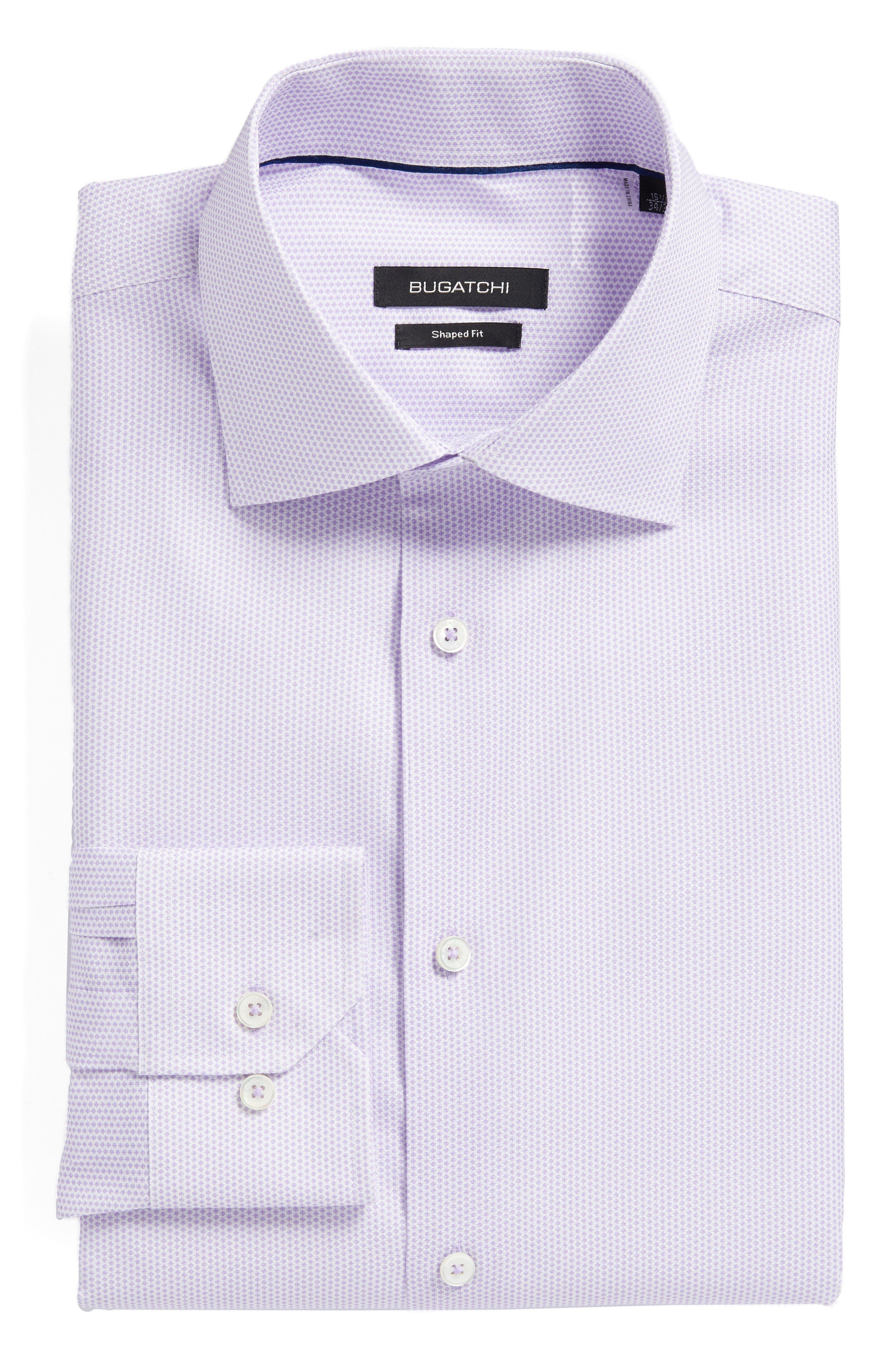 Trim Fit Geometric Dress Shirt,                             Main thumbnail 1, color,                             Lavender