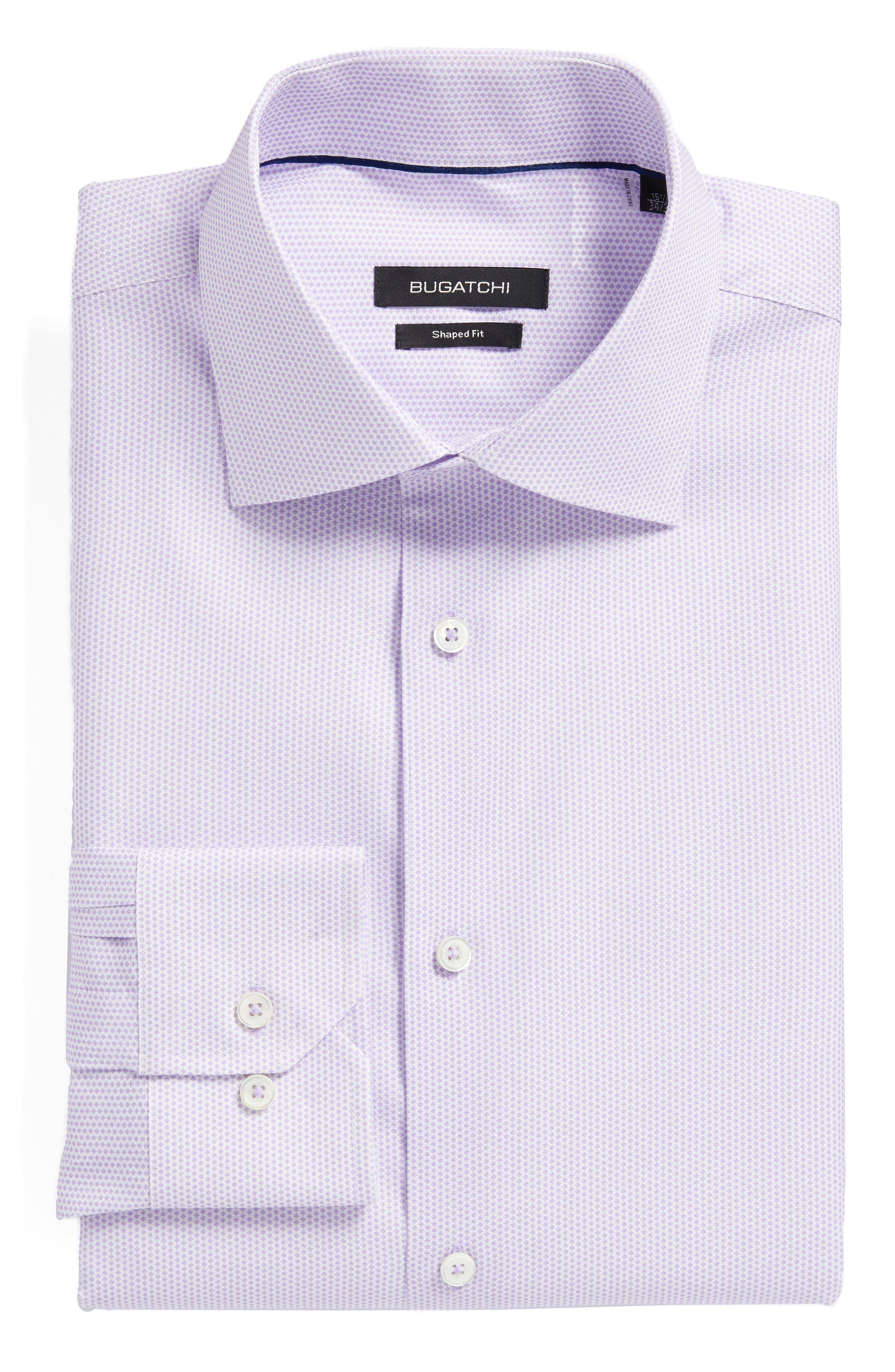 Trim Fit Geometric Dress Shirt,                         Main,                         color, Lavender