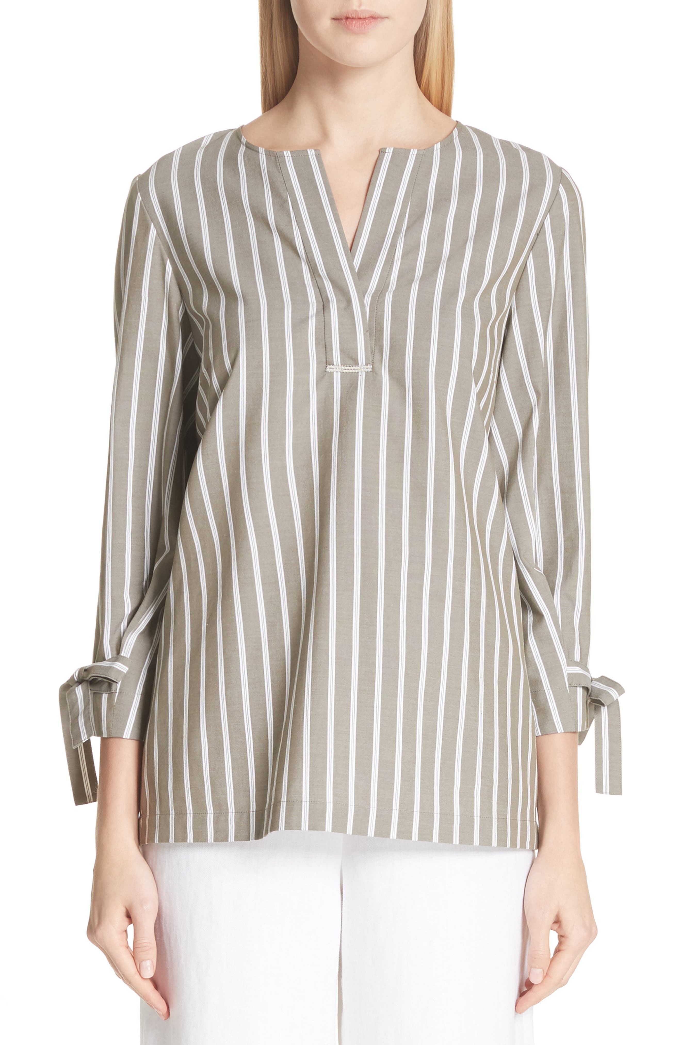 Kendra Stripe Tie Cuff Blouse,                             Main thumbnail 1, color,                             Nightingale Multi