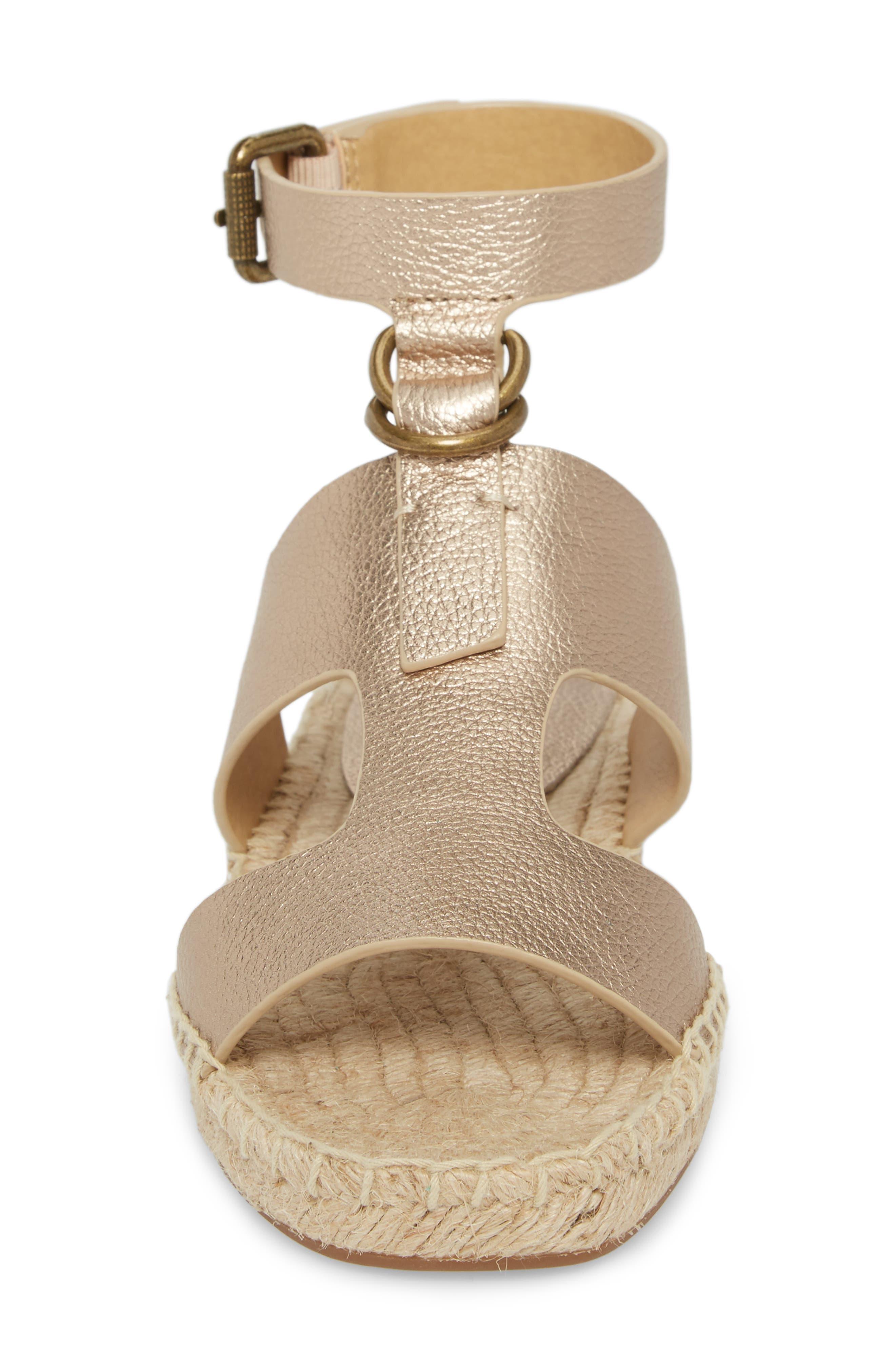 Farley Espadrille Sandal,                             Alternate thumbnail 4, color,                             Champagne Leather