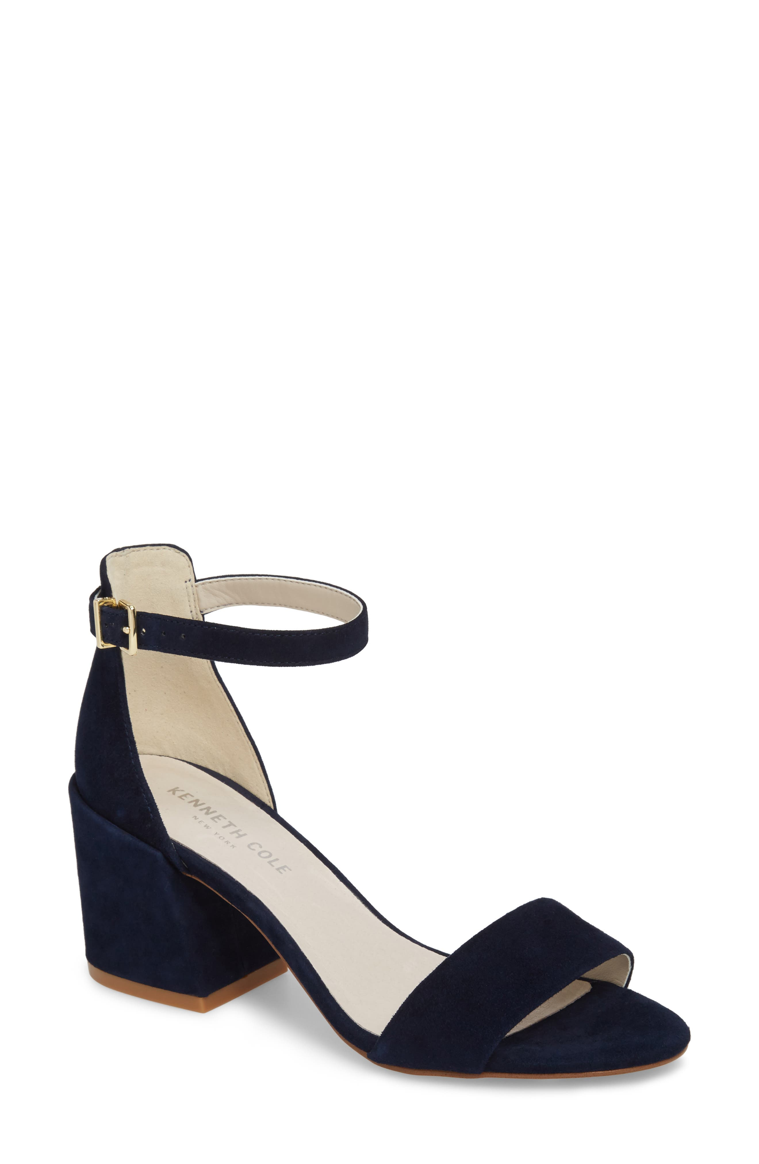 Hannon Block Heel Ankle Strap Sandal,                         Main,                         color, Navy Suede