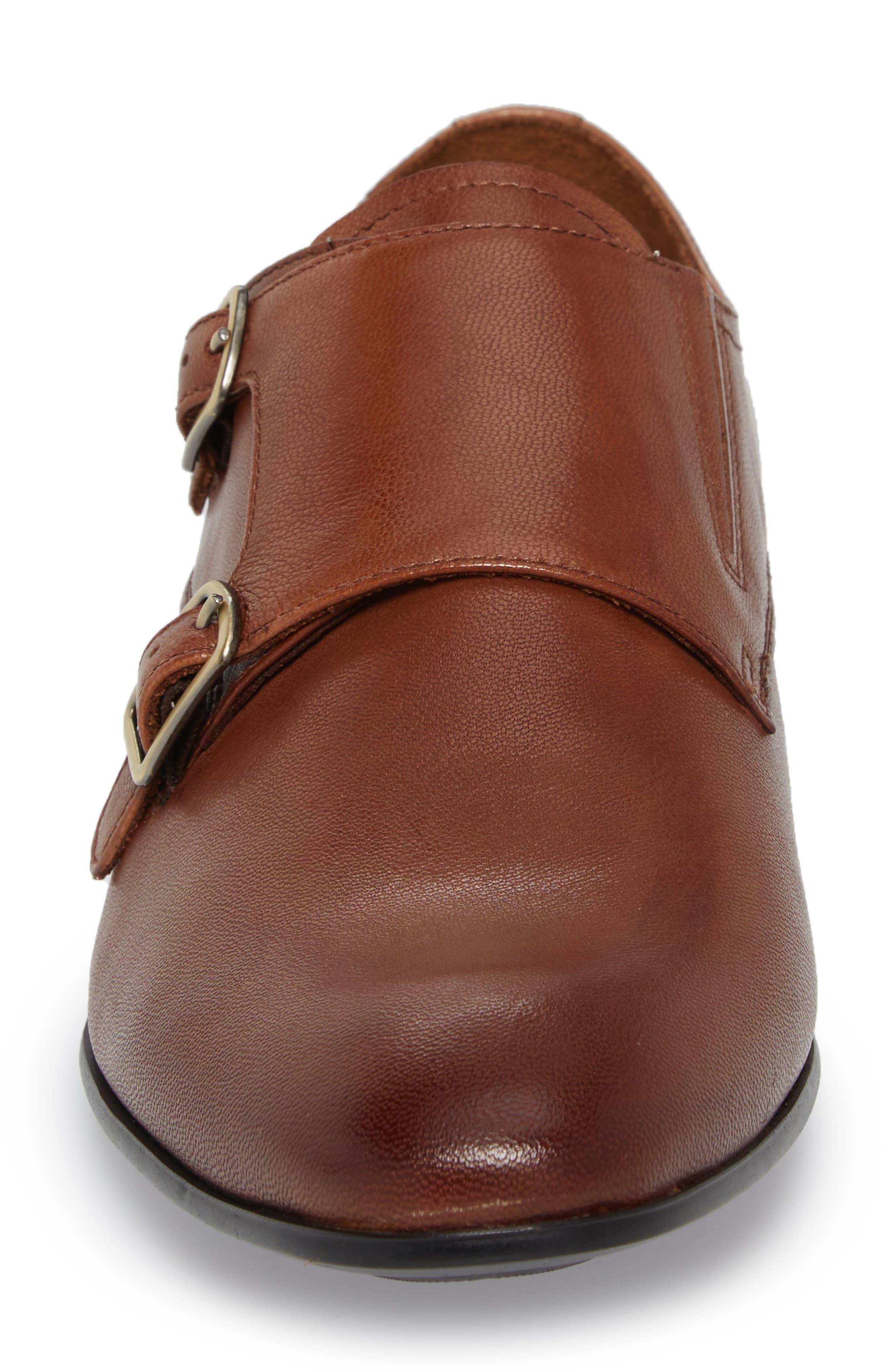 Mix Double Monk Strap Shoe,                             Alternate thumbnail 4, color,                             Cognac Leather