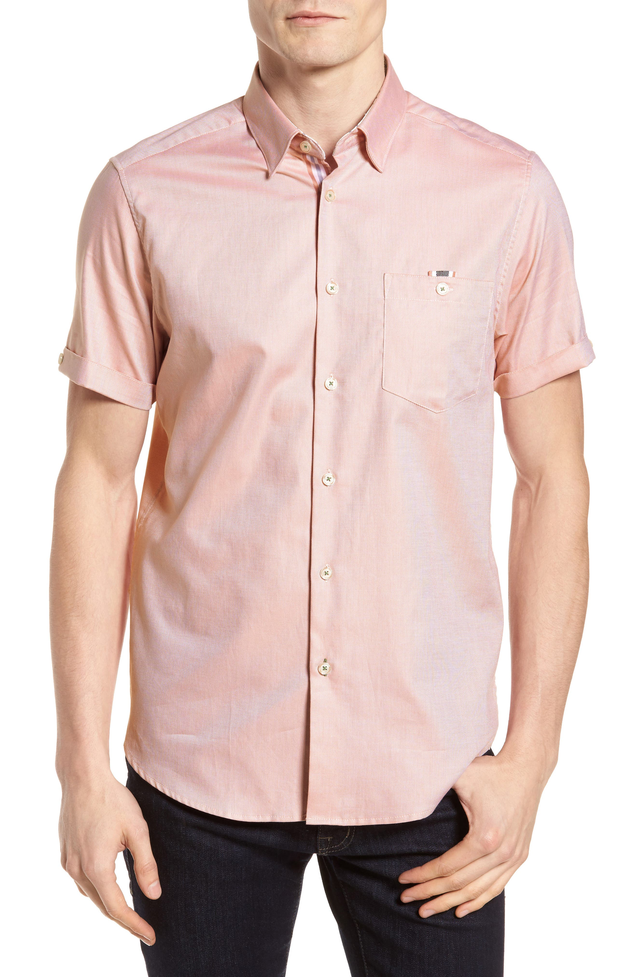 Wallo Trim Fit Short Sleeve Sport Shirt,                         Main,                         color, Pink