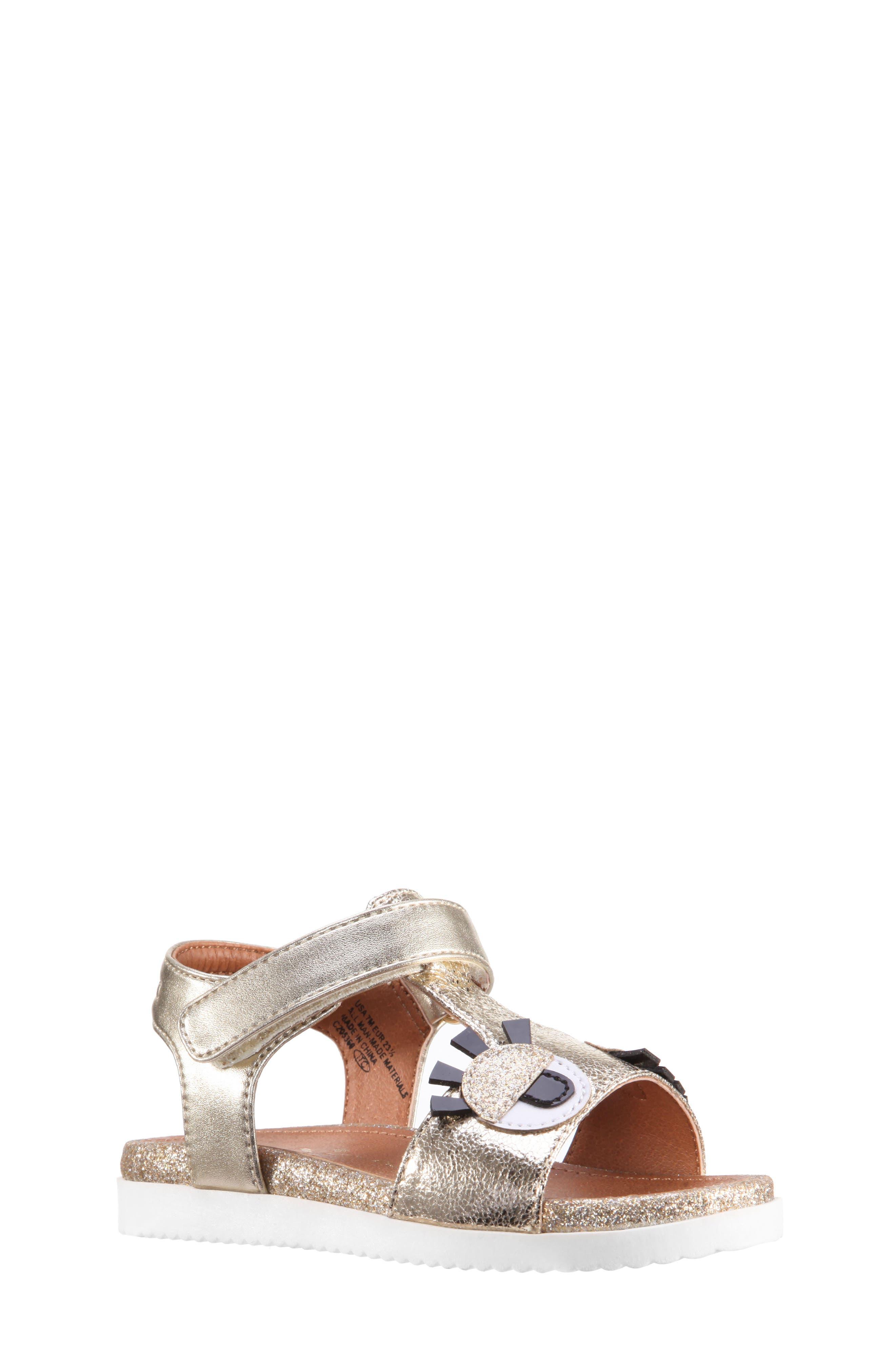 Luciella Wink Sandal,                             Main thumbnail 1, color,                             Platino Metallic Crackle