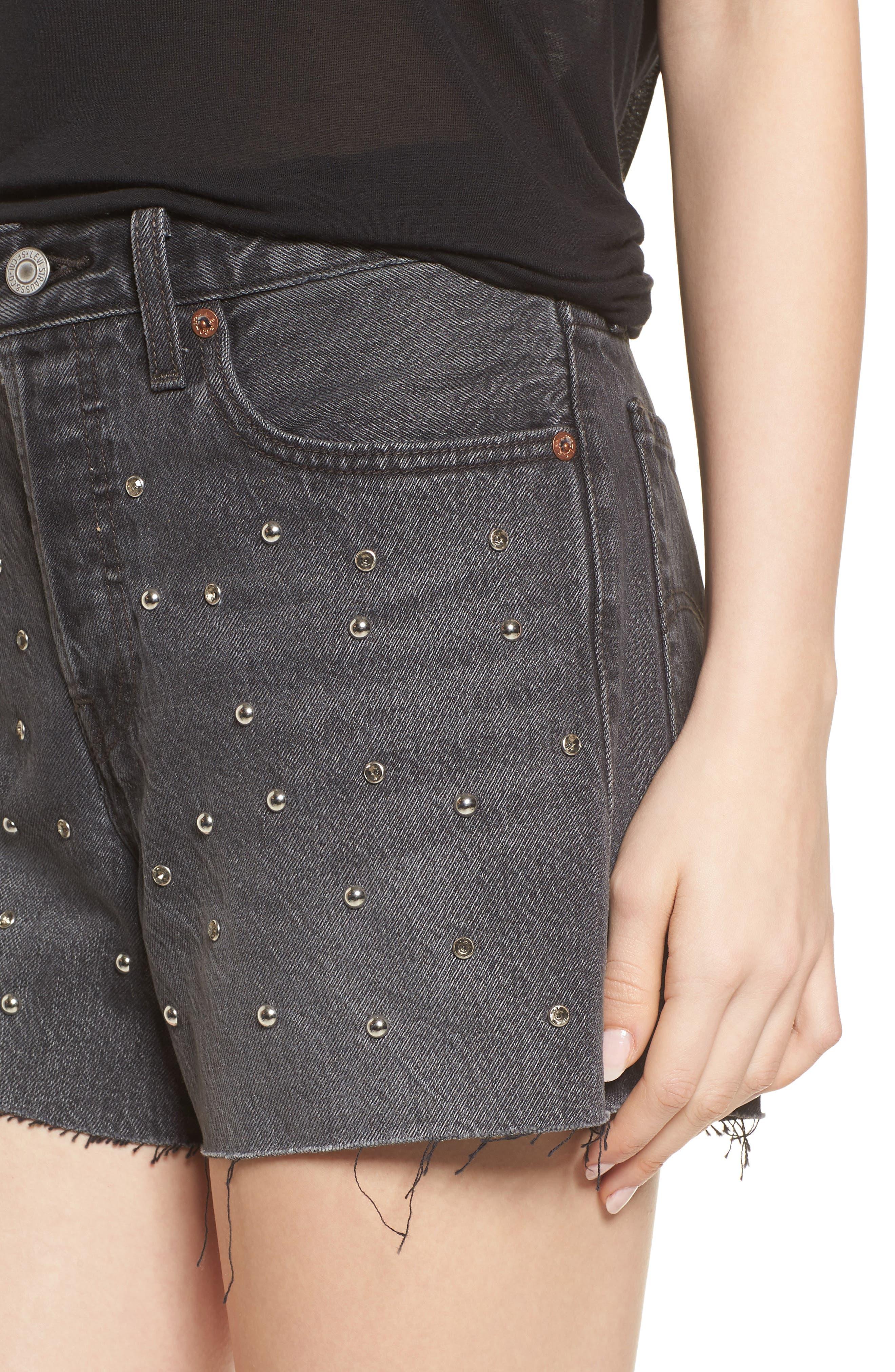 Wedgie High Waist Cutoff Denim Shorts,                             Alternate thumbnail 4, color,                             Bling Bling