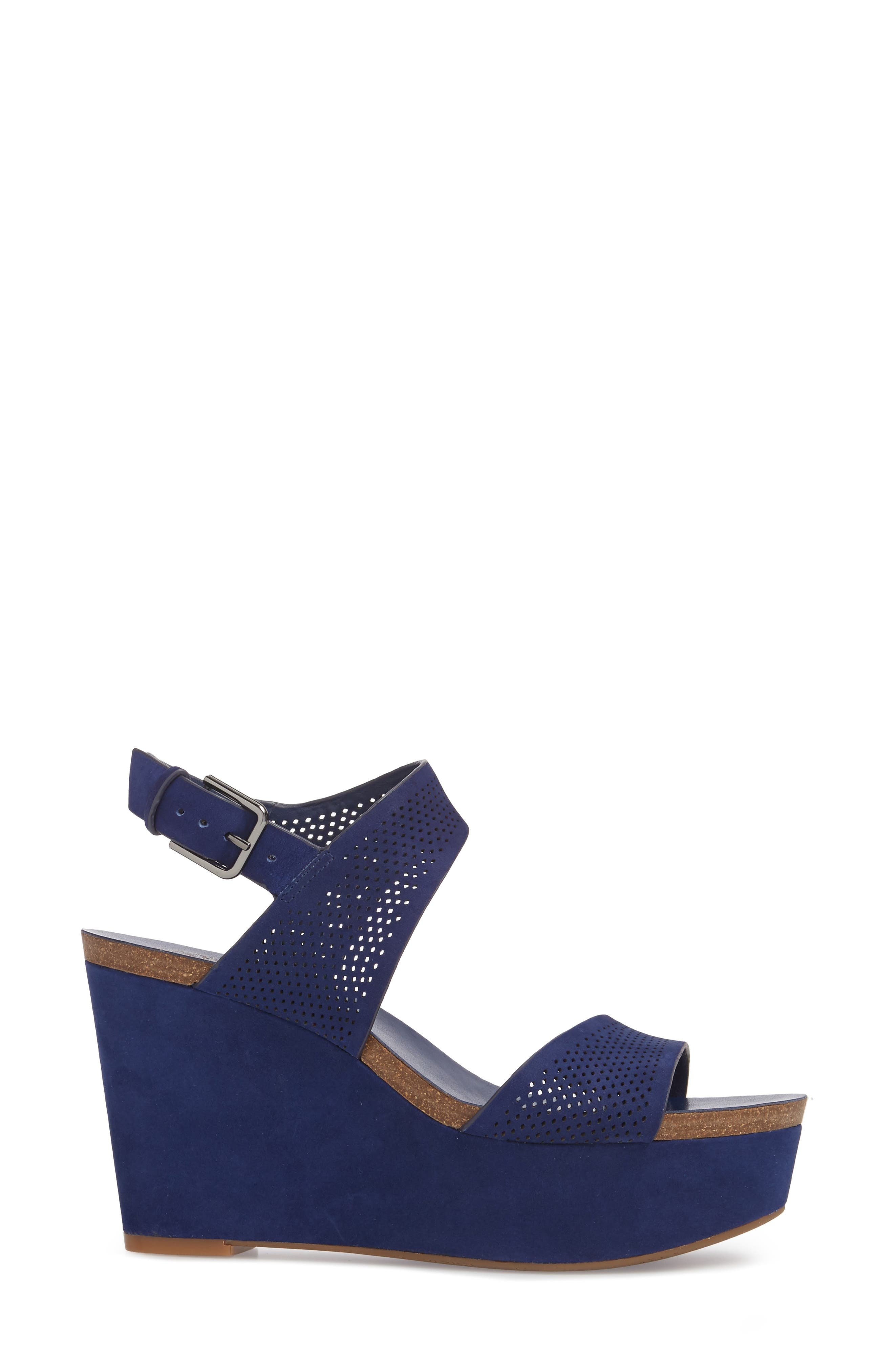 Vessinta Platform Wedge,                             Alternate thumbnail 3, color,                             Moody Blue Leather