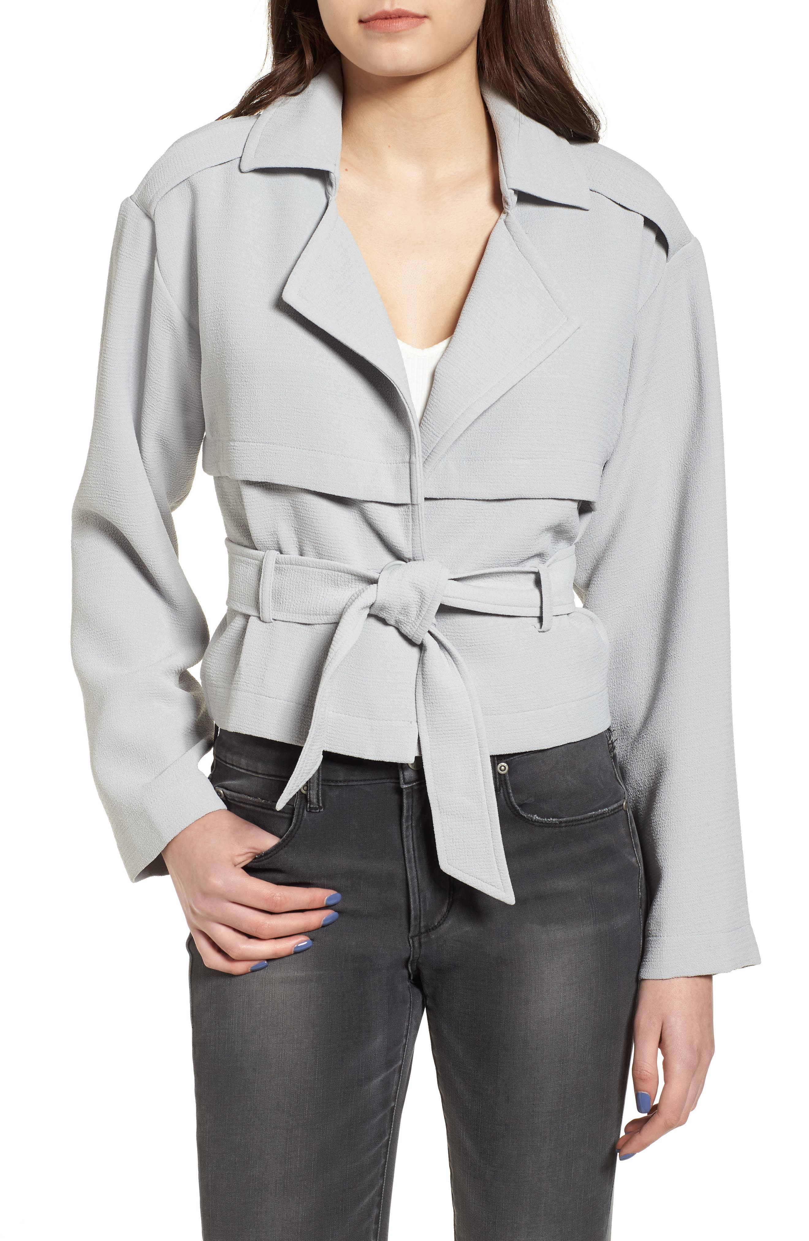 Crop Trench Jacket,                         Main,                         color, Blue Pearl