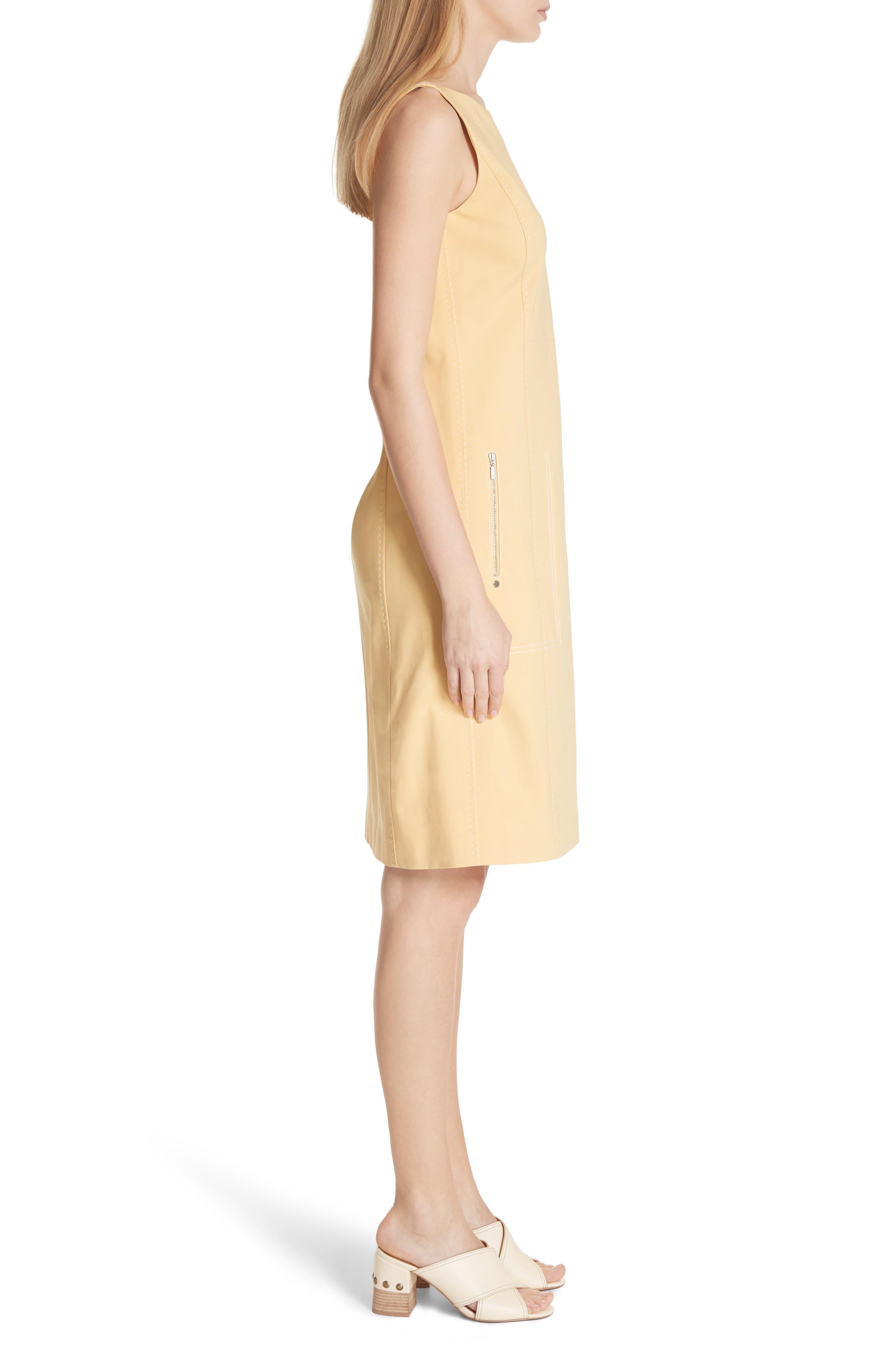 Paxton Sleeveless Sheath Dress,                             Alternate thumbnail 3, color,                             Sienna Yellow