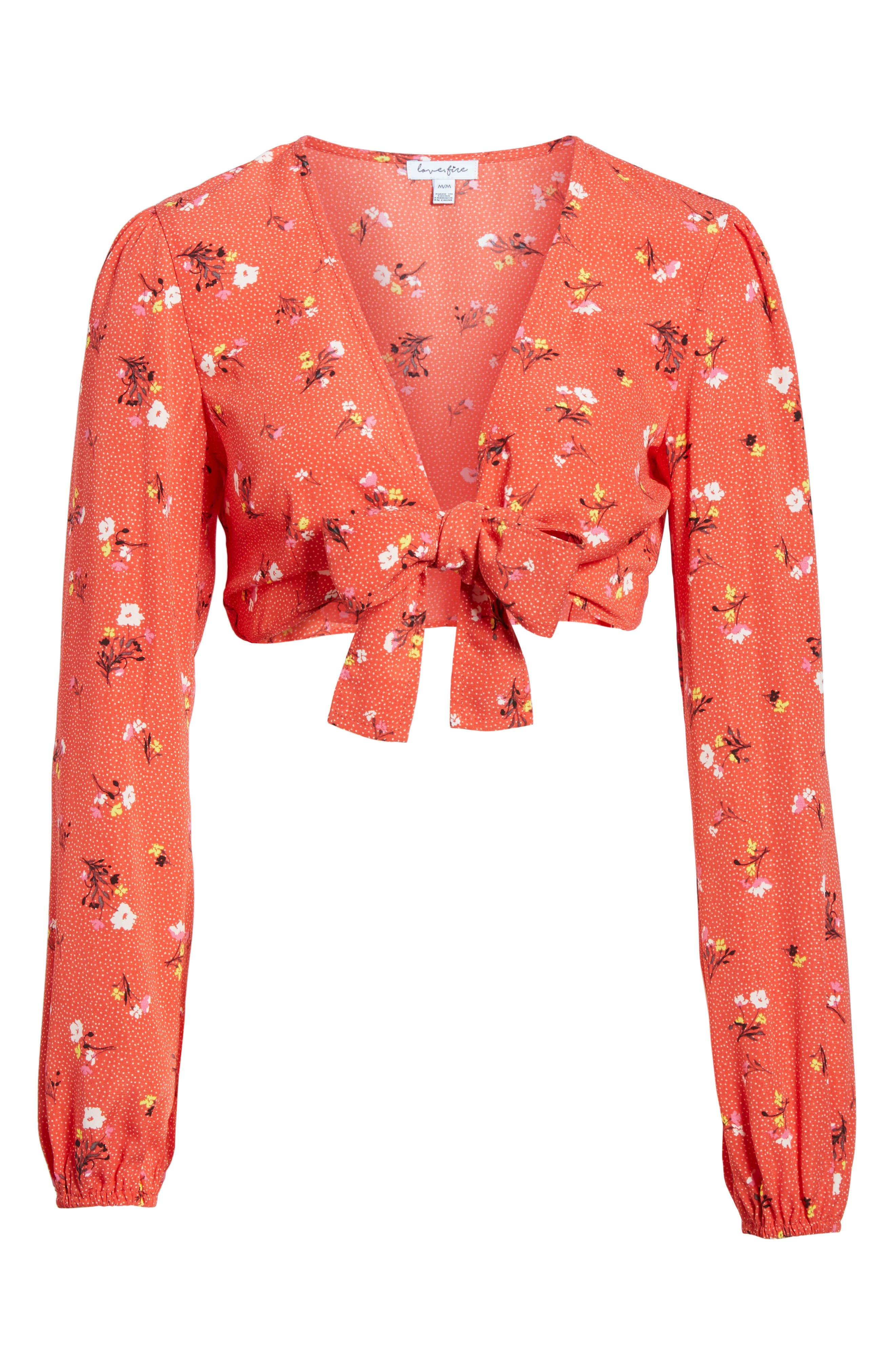 Tie Front Crop Top,                             Alternate thumbnail 6, color,                             Red Dot Floral