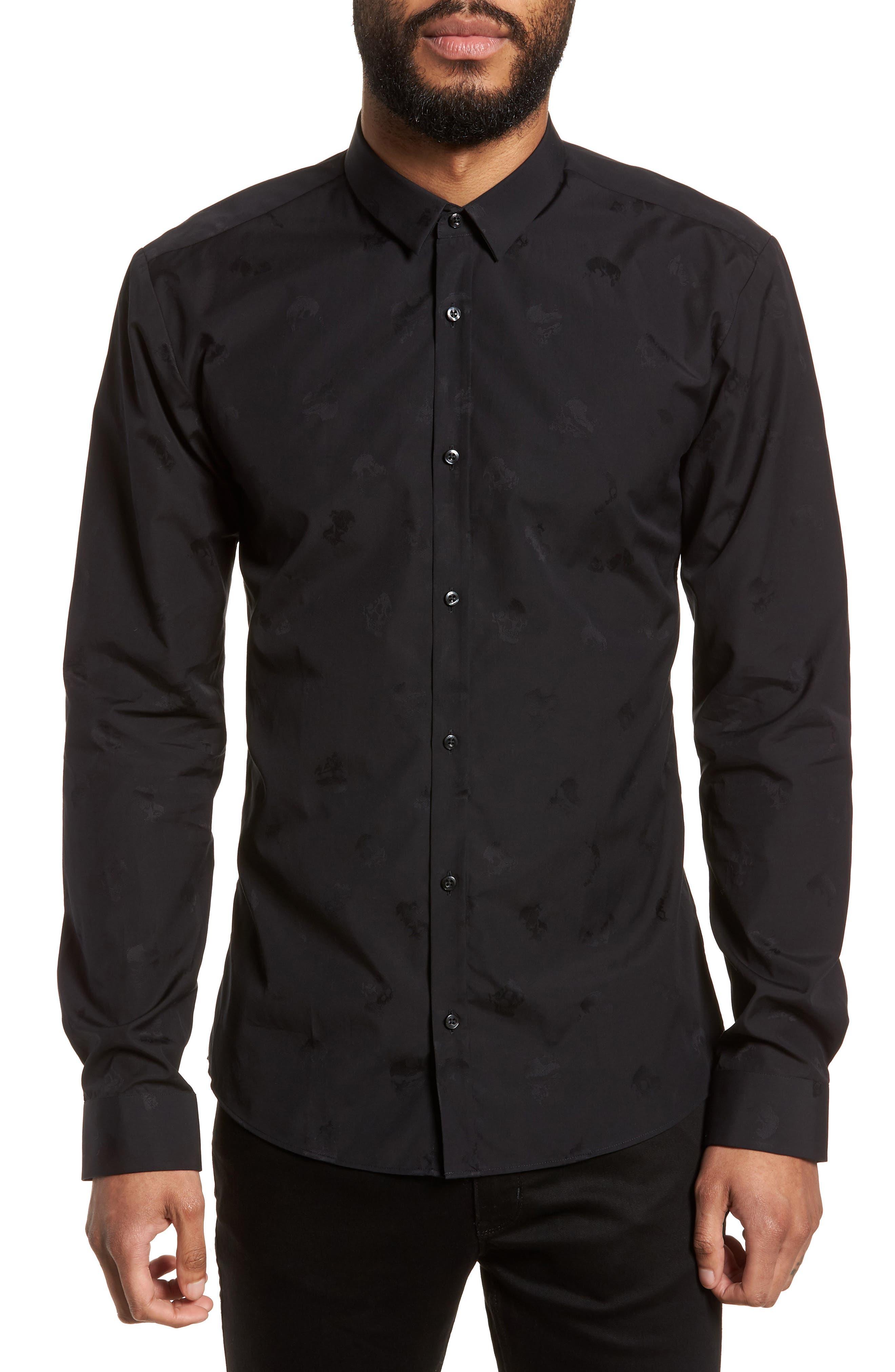 Ero Slim Fit Print Sport Shirt,                             Main thumbnail 1, color,                             Black