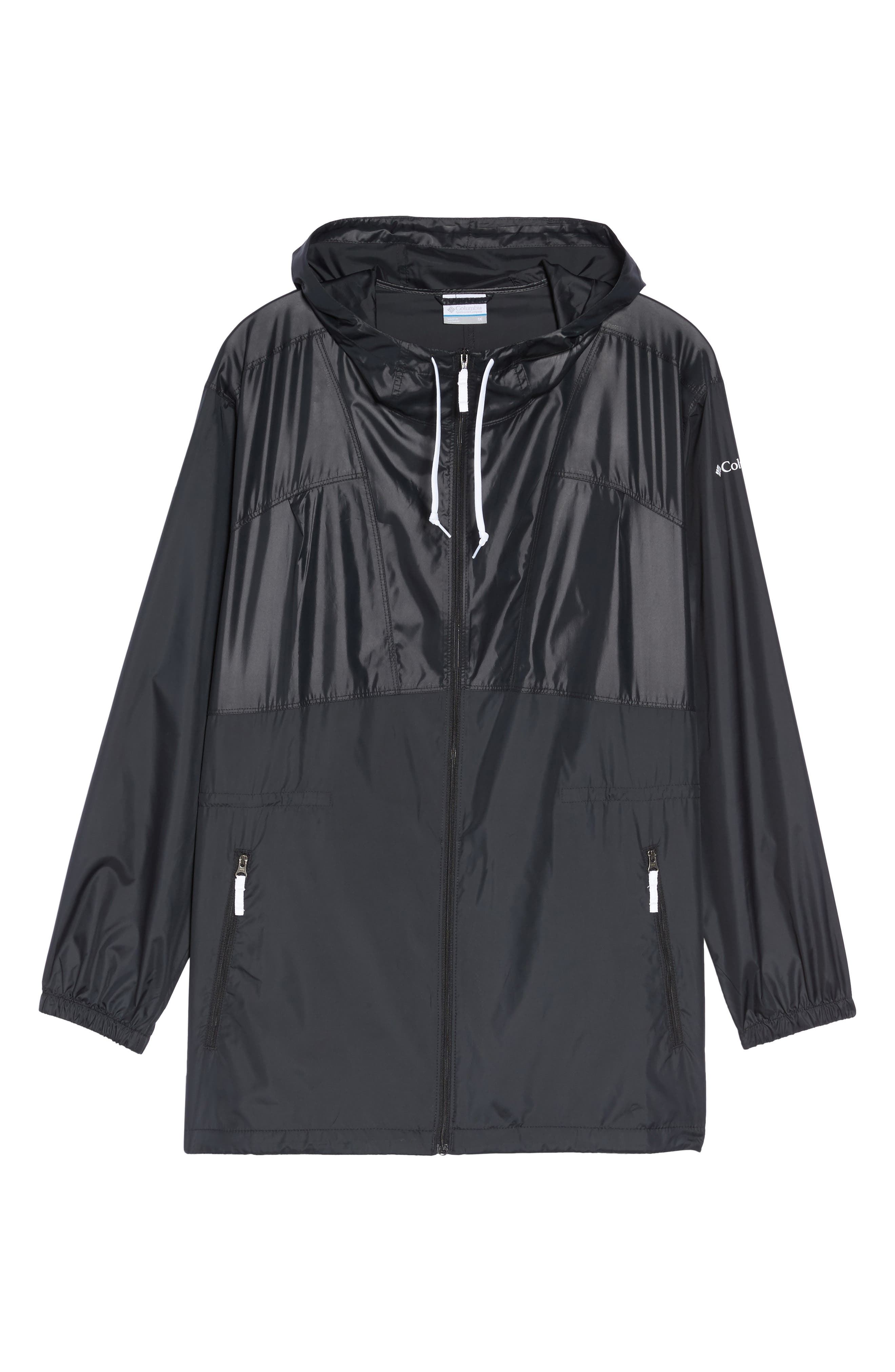 Flashback<sup>™</sup> Water Resistant Hooded Windbreaker,                             Alternate thumbnail 6, color,                             Black Shiny/ Matte White