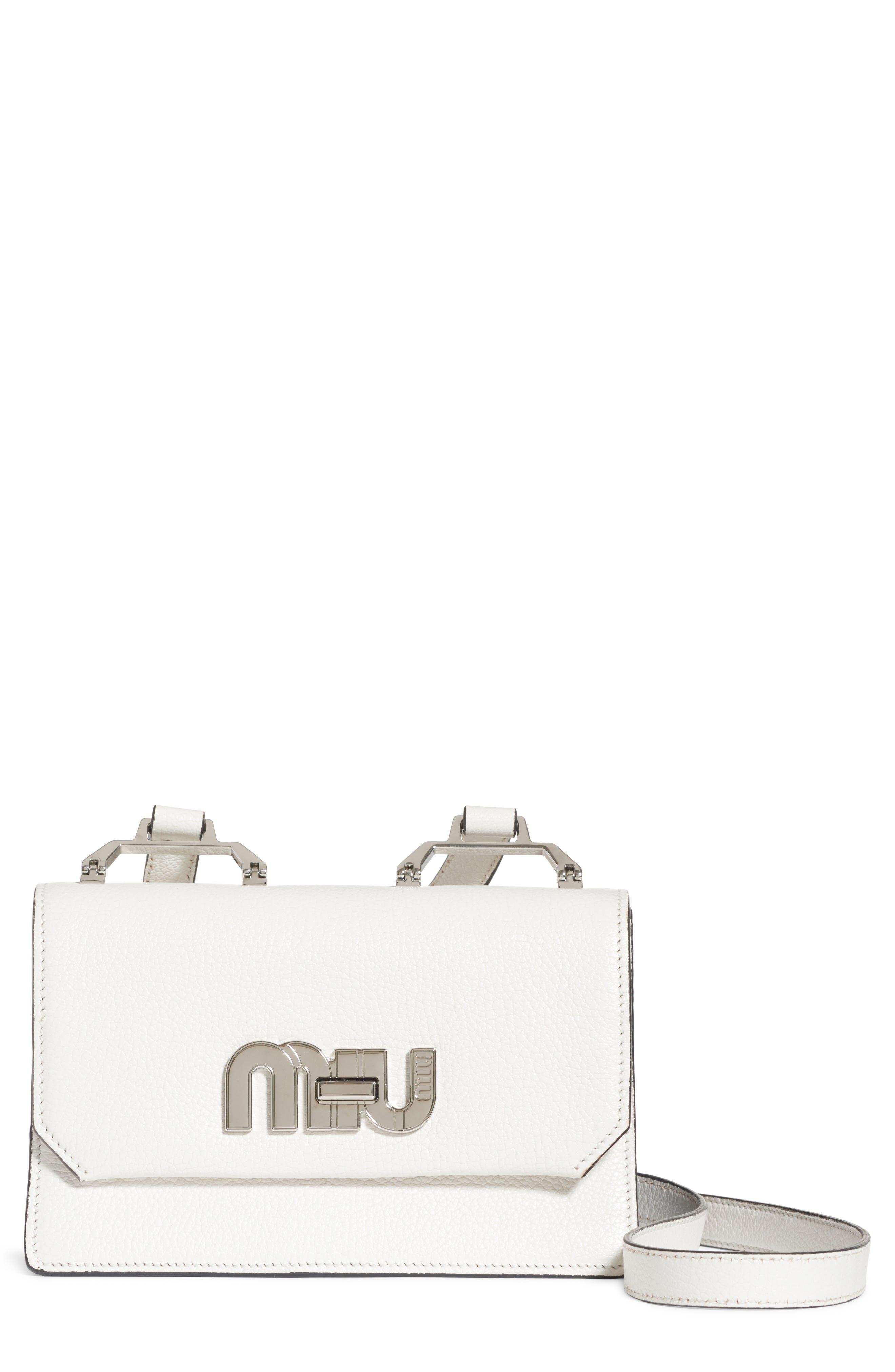 Leather Crossbody Bag,                         Main,                         color, Bianco/ Baltico