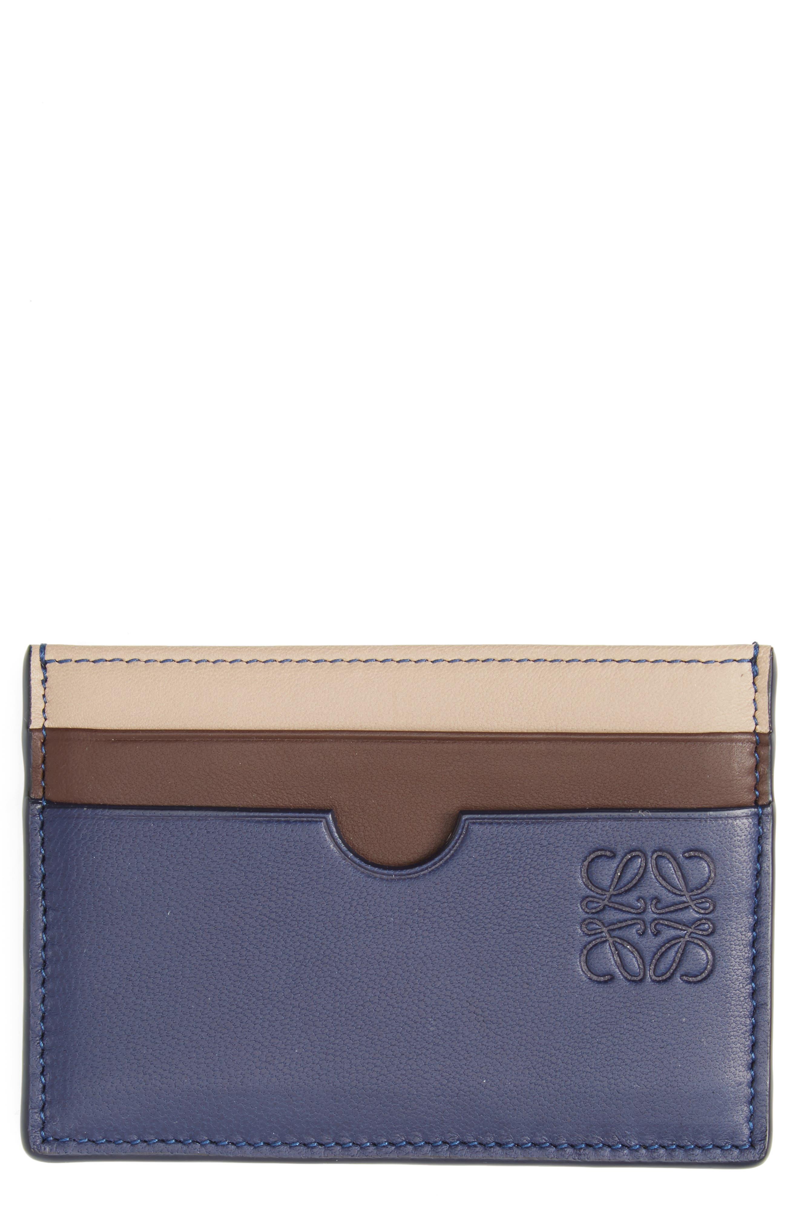 Tricolor Leather Card Case,                         Main,                         color, Blue