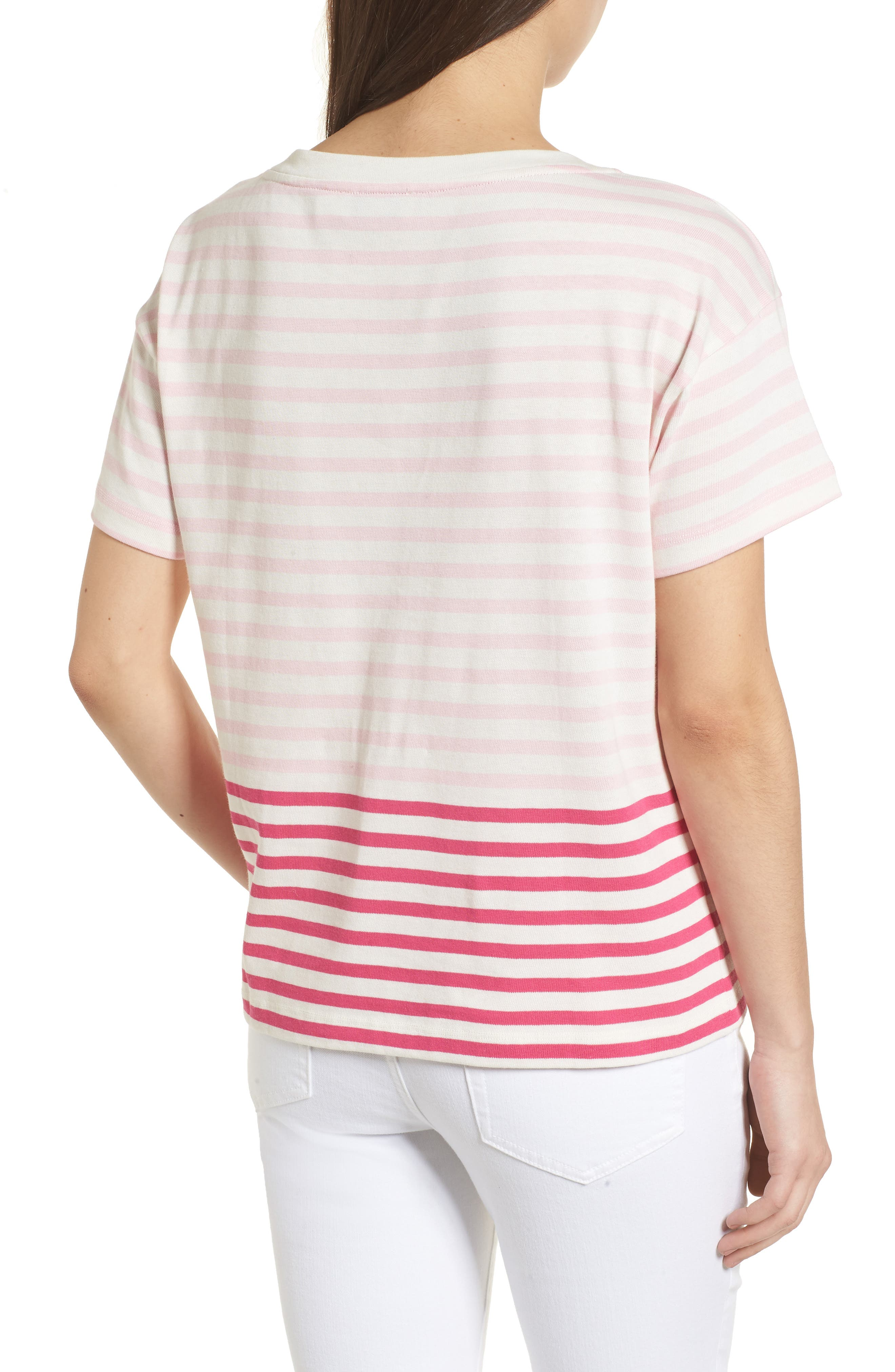 Mixed Stripe Pocket Cotton Knit Top,                             Alternate thumbnail 2, color,                             Rhododendron
