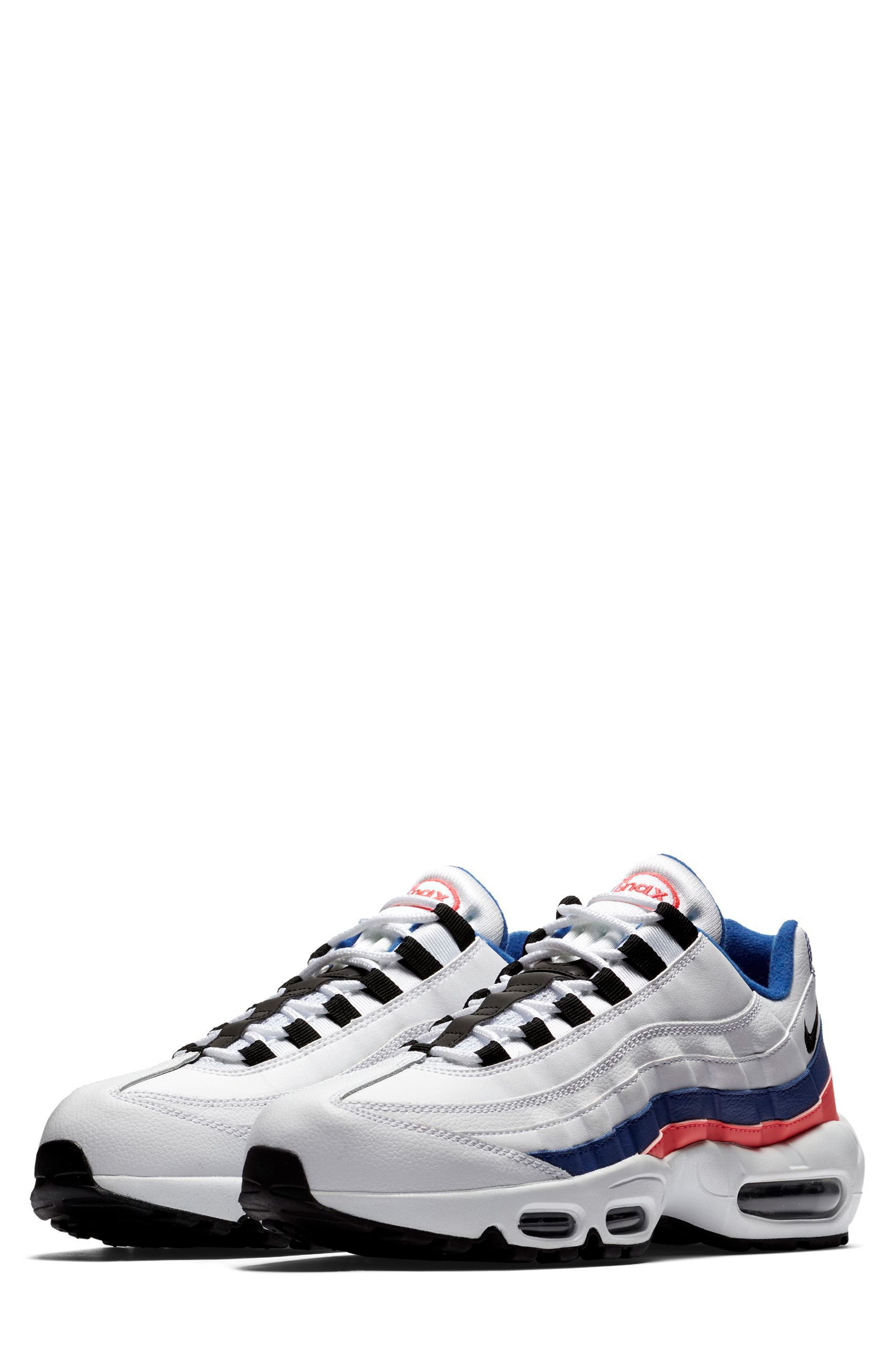 Air Max 95 Essential Sneaker,                         Main,                         color, White/ Black/ Solar Red