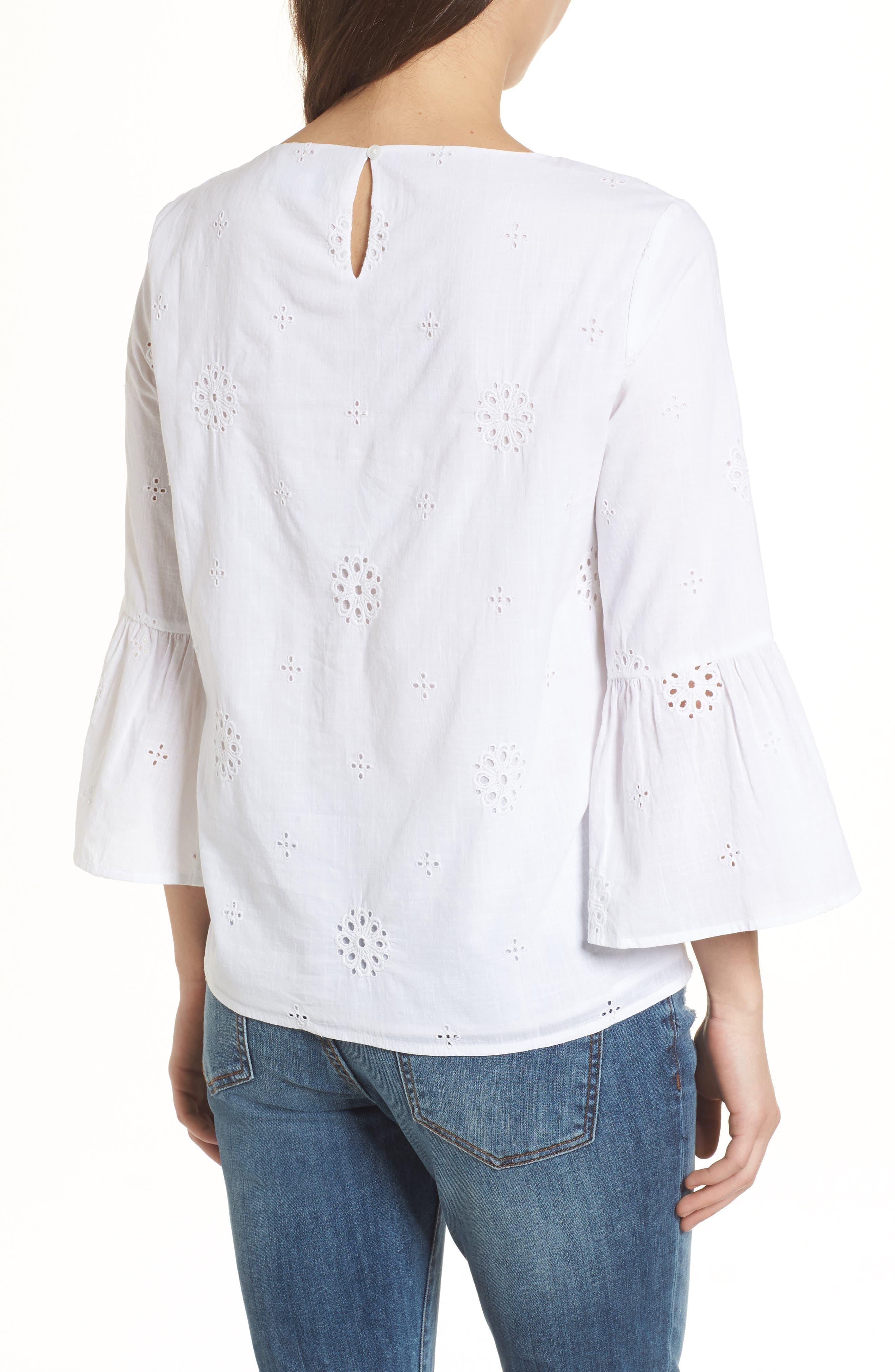 Eyelet Bell Sleeve Cotton Top,                             Alternate thumbnail 2, color,                             White Cap