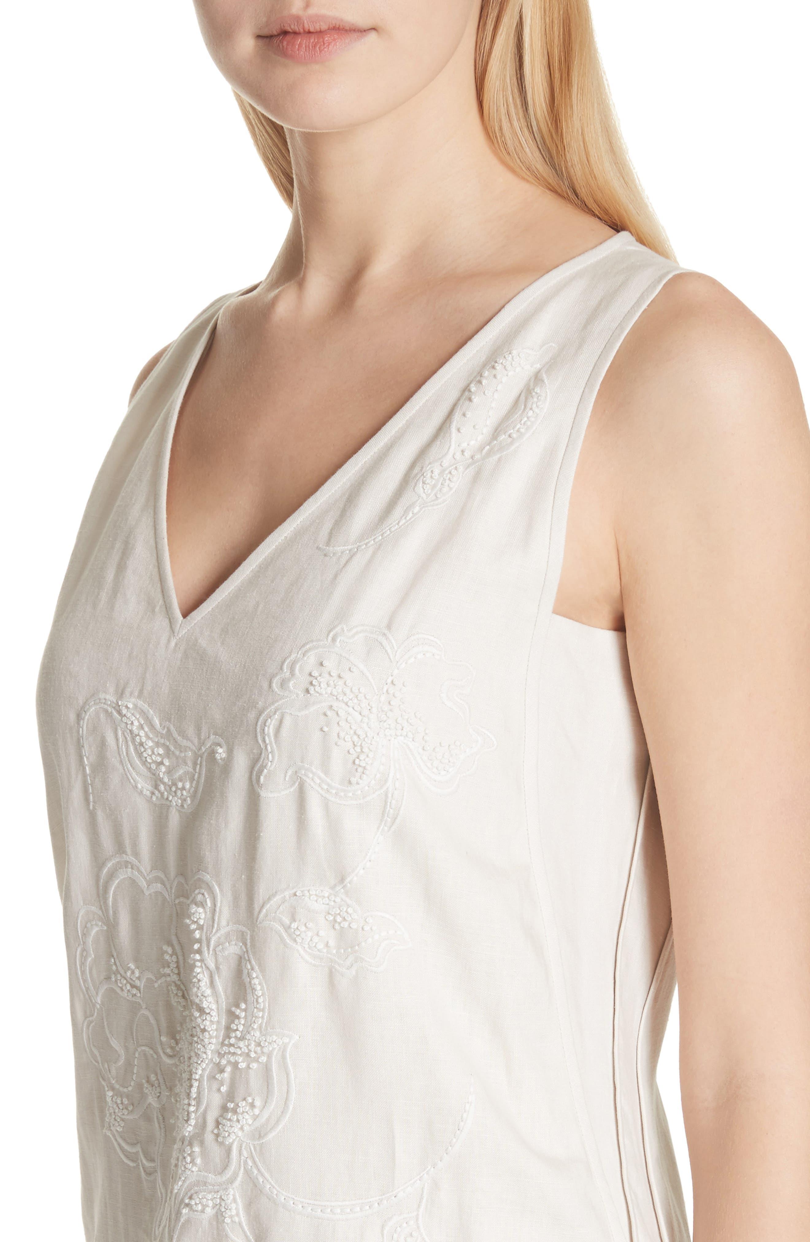 Duncan Embroidered Linen Dress,                             Alternate thumbnail 4, color,                             Raffia