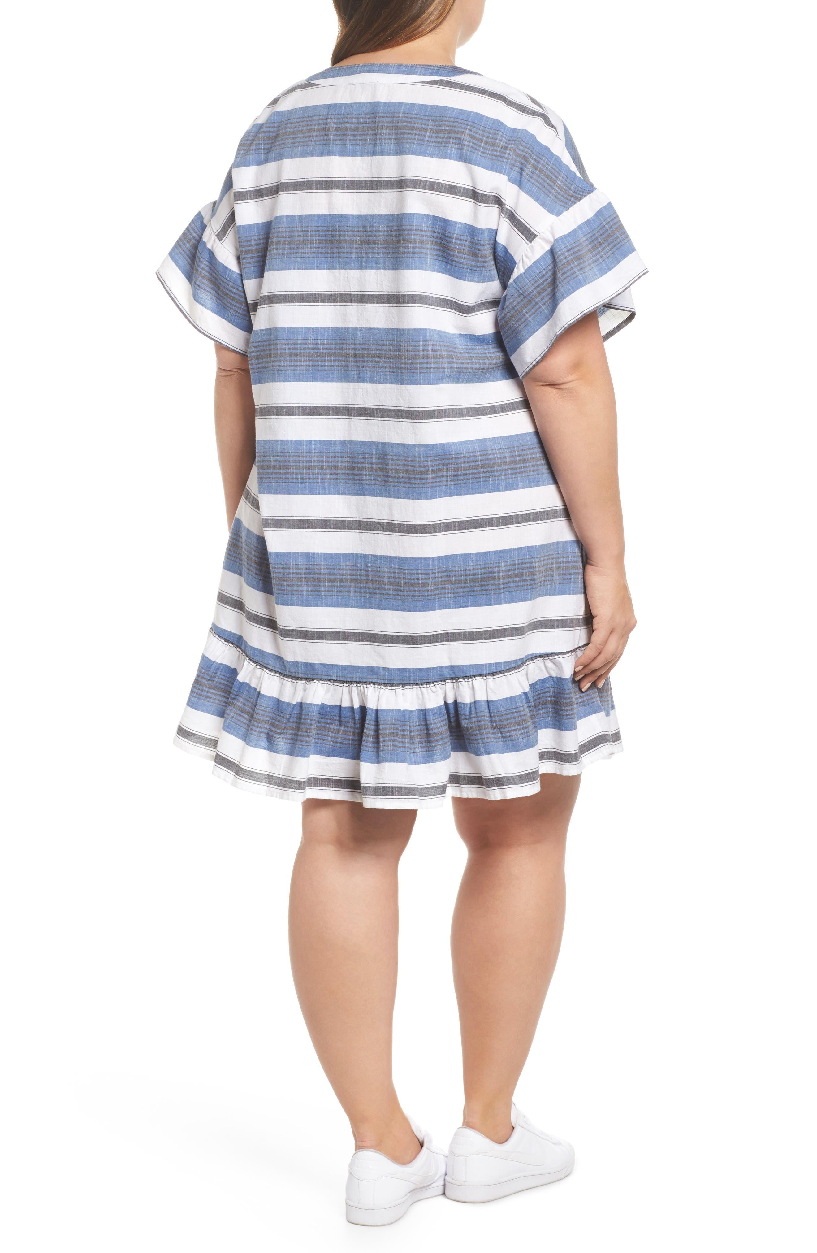 Lace-Up Stripe Dress,                             Alternate thumbnail 2, color,                             Blue Multi