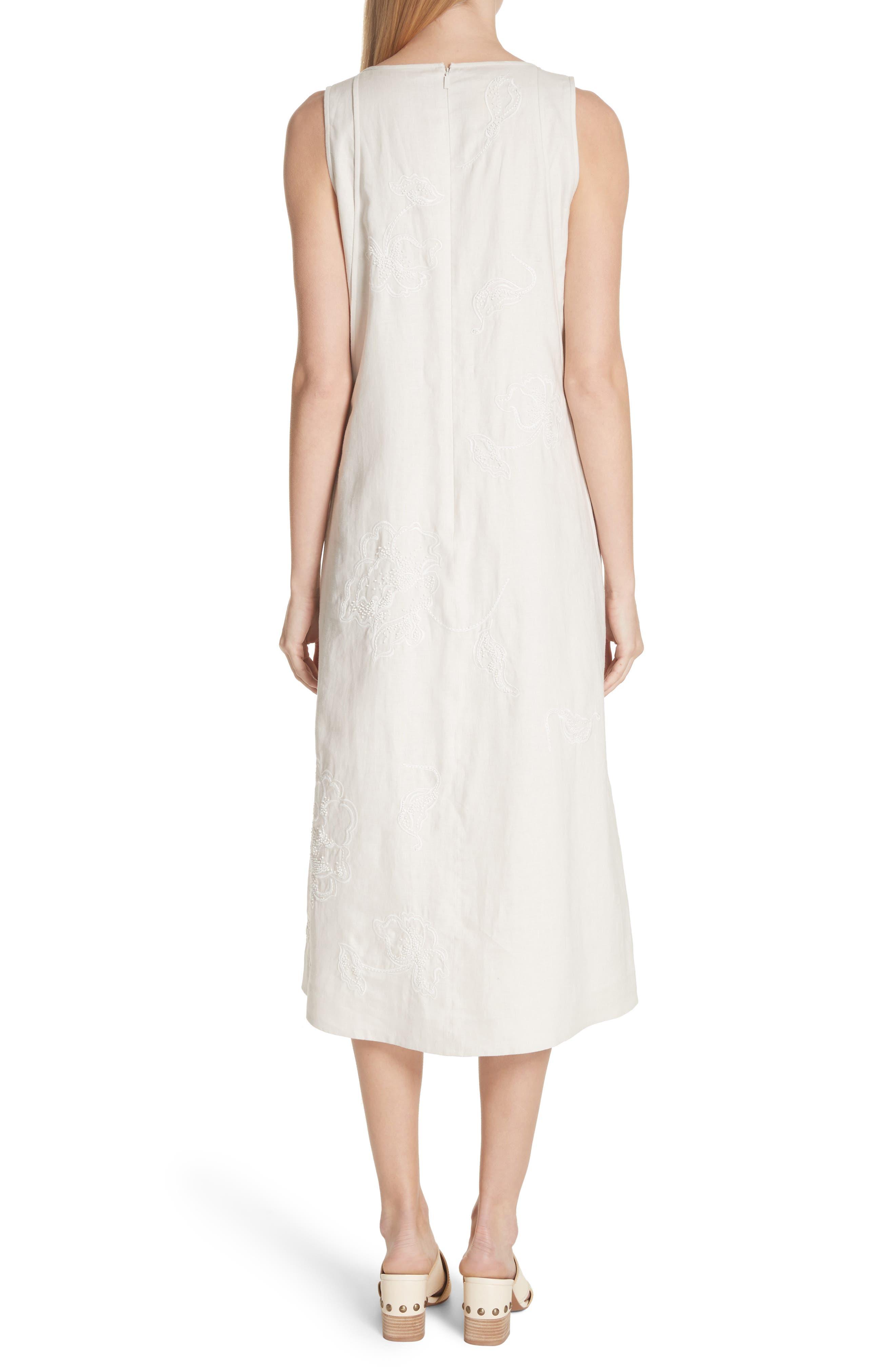 Duncan Embroidered Linen Dress,                             Alternate thumbnail 2, color,                             Raffia