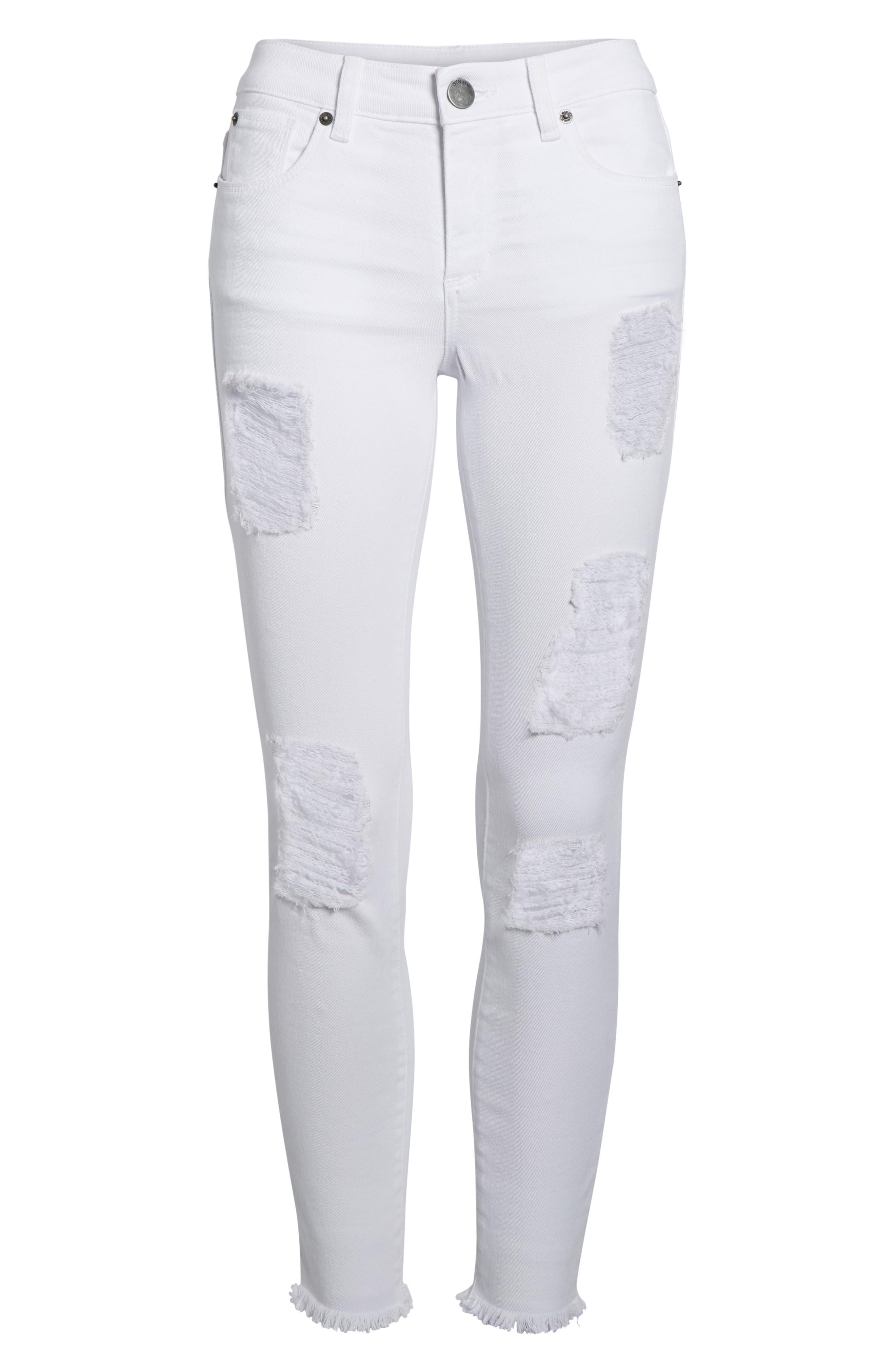 Emma Distressed Skinny Jeans,                             Alternate thumbnail 7, color,                             Optic White