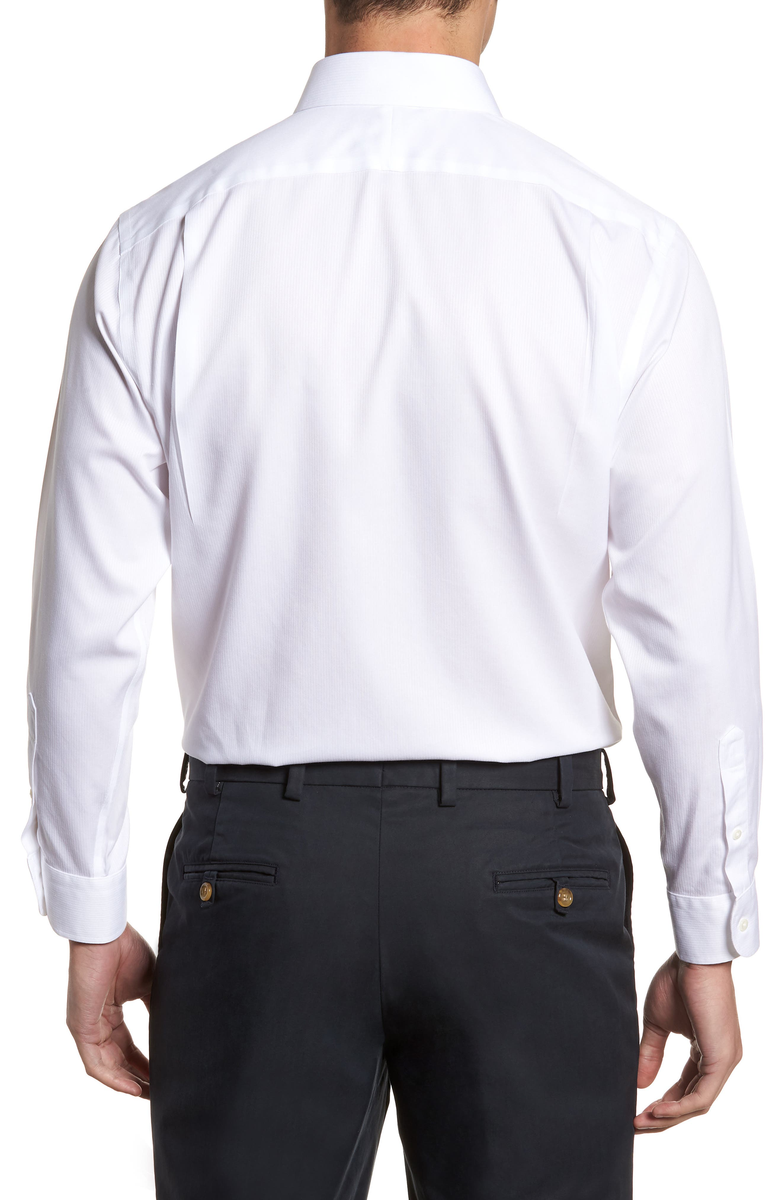 Smartcare<sup>™</sup> Traditional Fit Stripe Dress Shirt,                             Alternate thumbnail 3, color,                             White