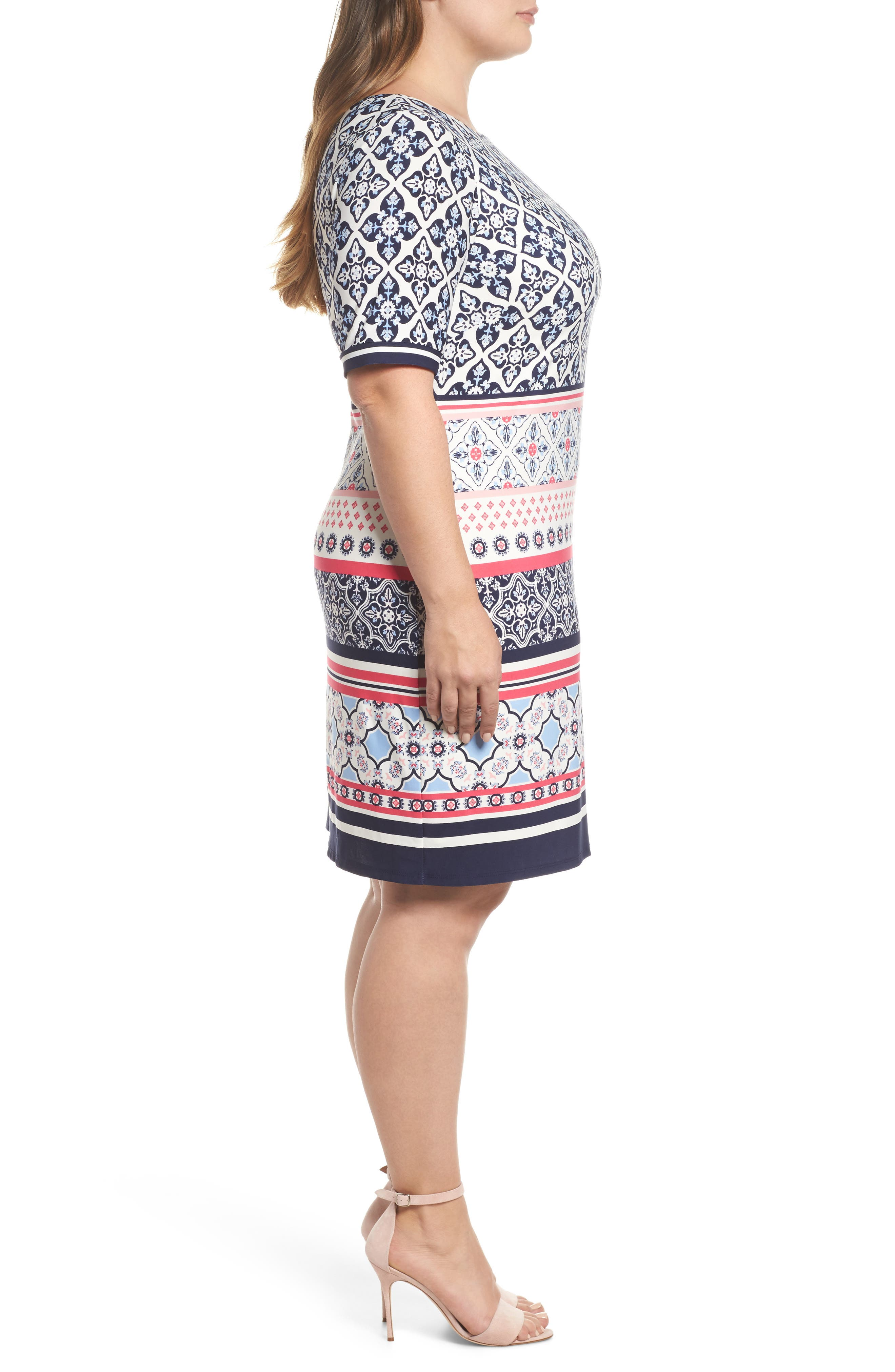 Alternate Image 3  - Eliza J Print Shift Dress (Plus Size)
