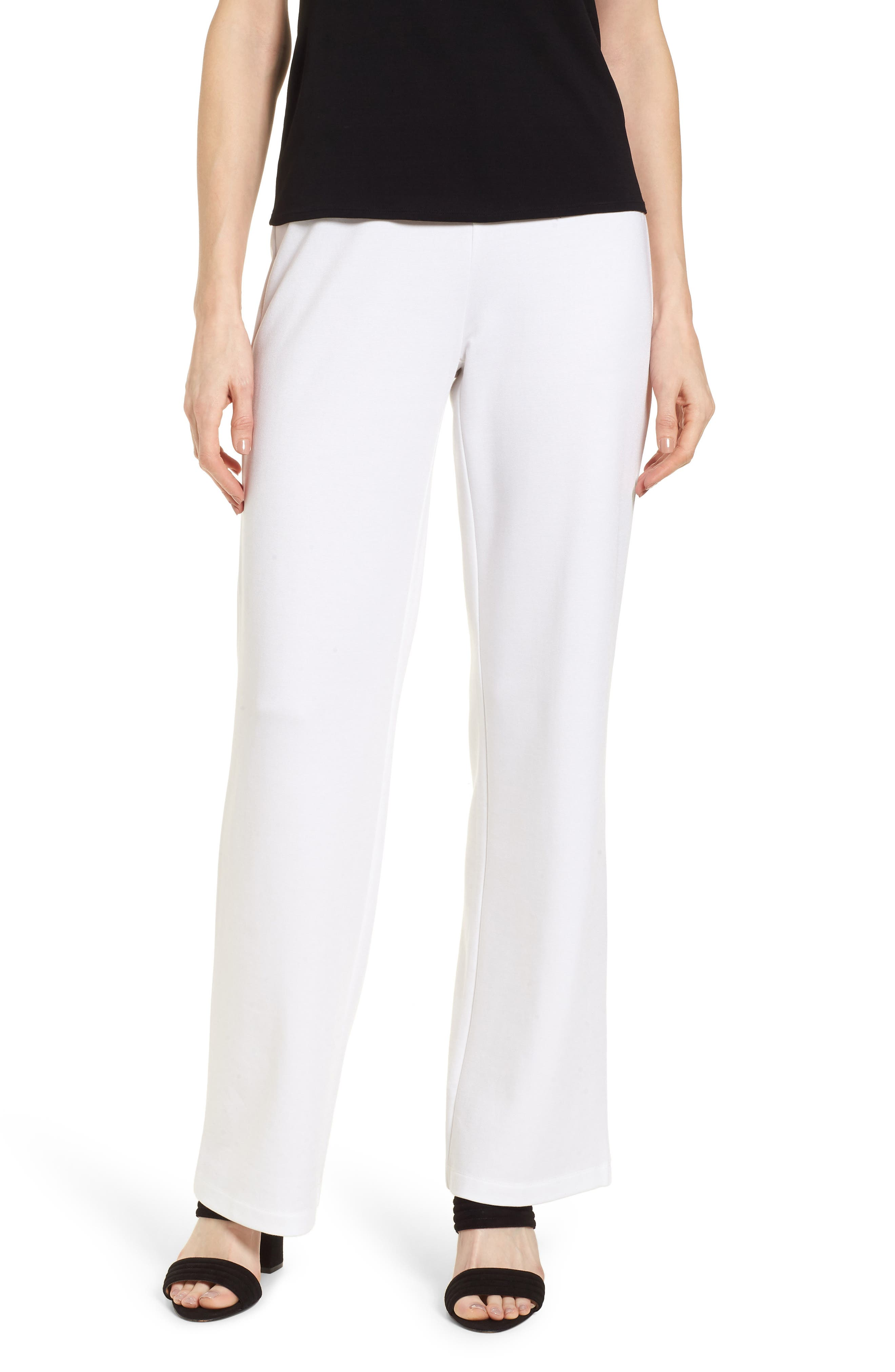 Straight Leg Pants,                         Main,                         color, White