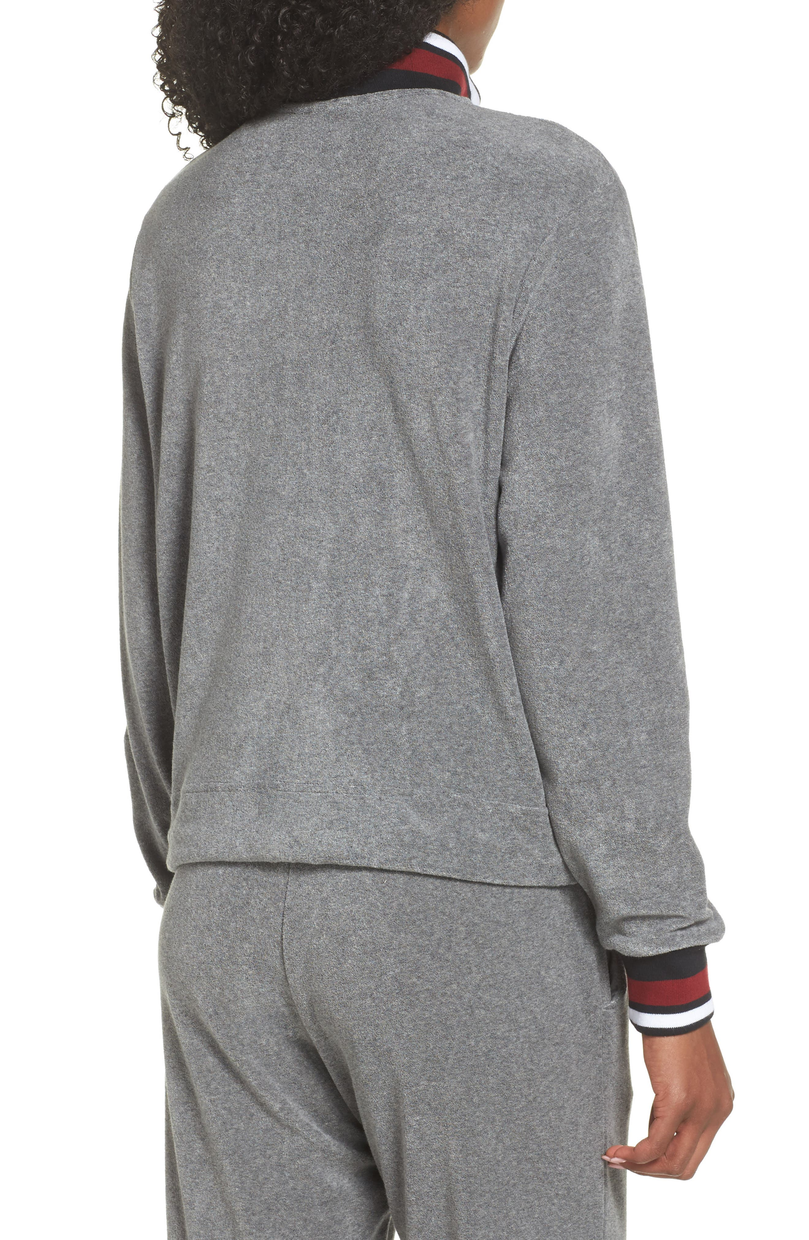 Sportswear French Terry Jacket,                             Alternate thumbnail 2, color,                             Heather/ Anthracite/ Team Red