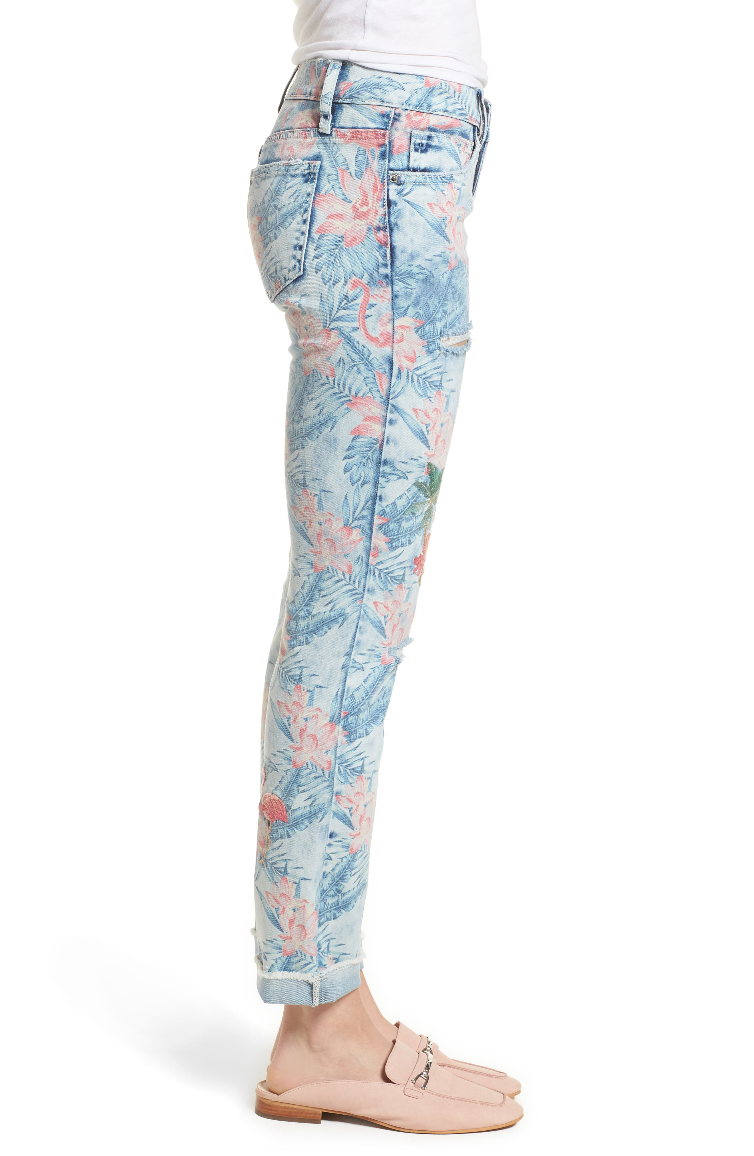 Embroidered Distressed Flamingo Jeans,                             Alternate thumbnail 3, color,                             Light Blue Paradise
