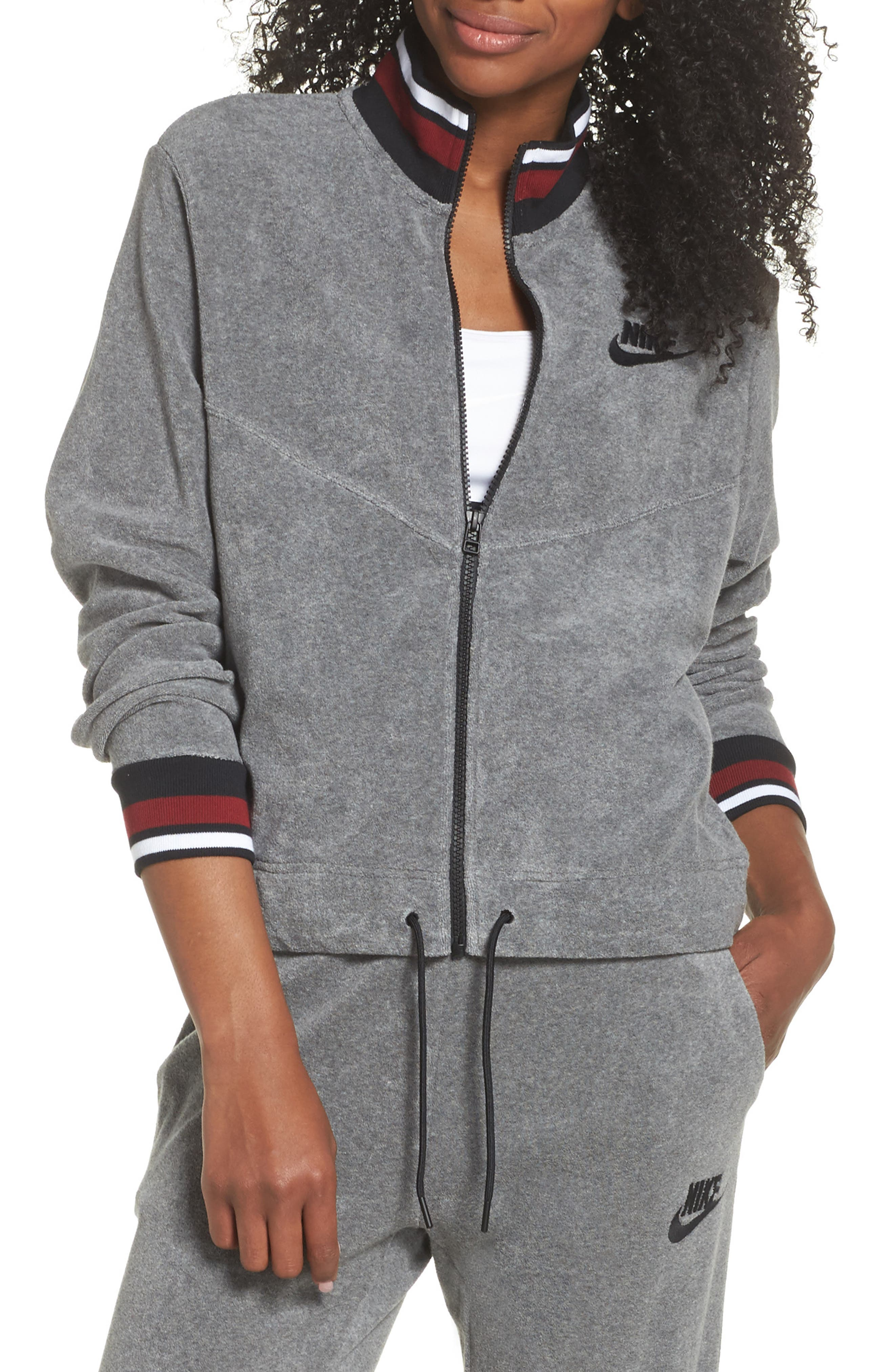 Sportswear French Terry Jacket,                             Main thumbnail 1, color,                             Heather/ Anthracite/ Team Red