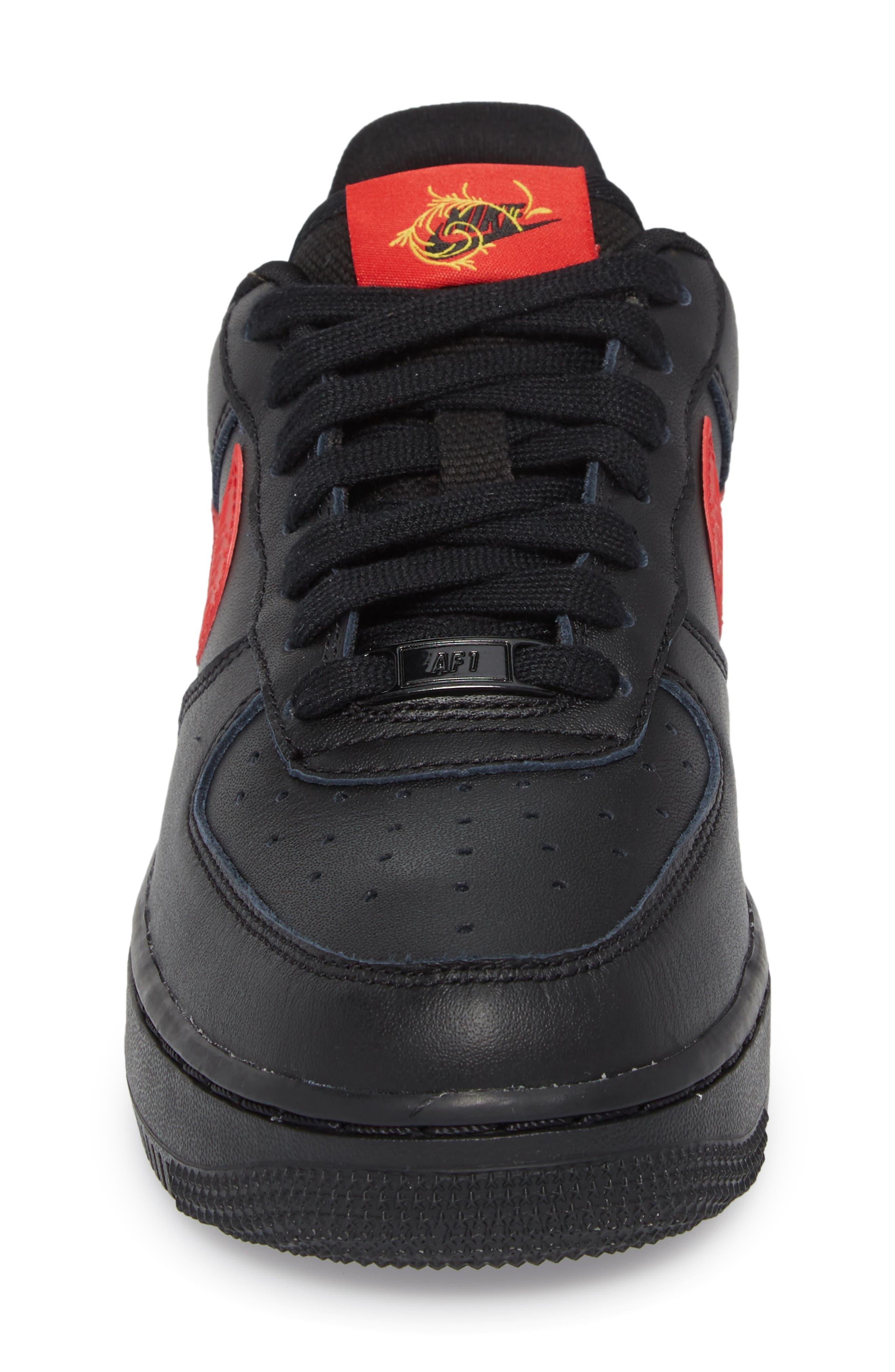 Air Force 1 '07 Sneaker,                             Alternate thumbnail 4, color,                             Black/ University Red