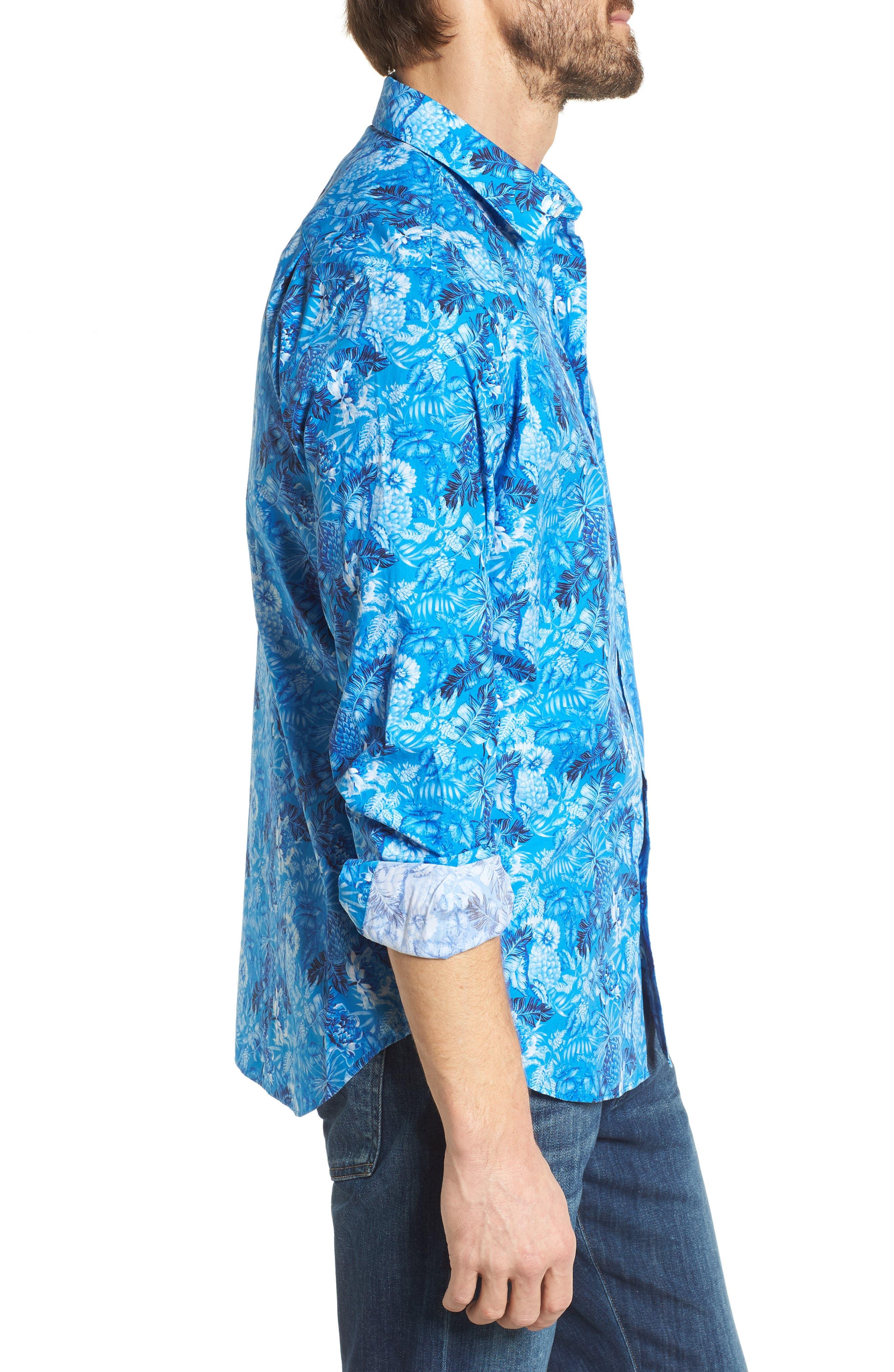 Premium Slim Fit Print Sport Shirt,                             Alternate thumbnail 4, color,                             Blue Floral