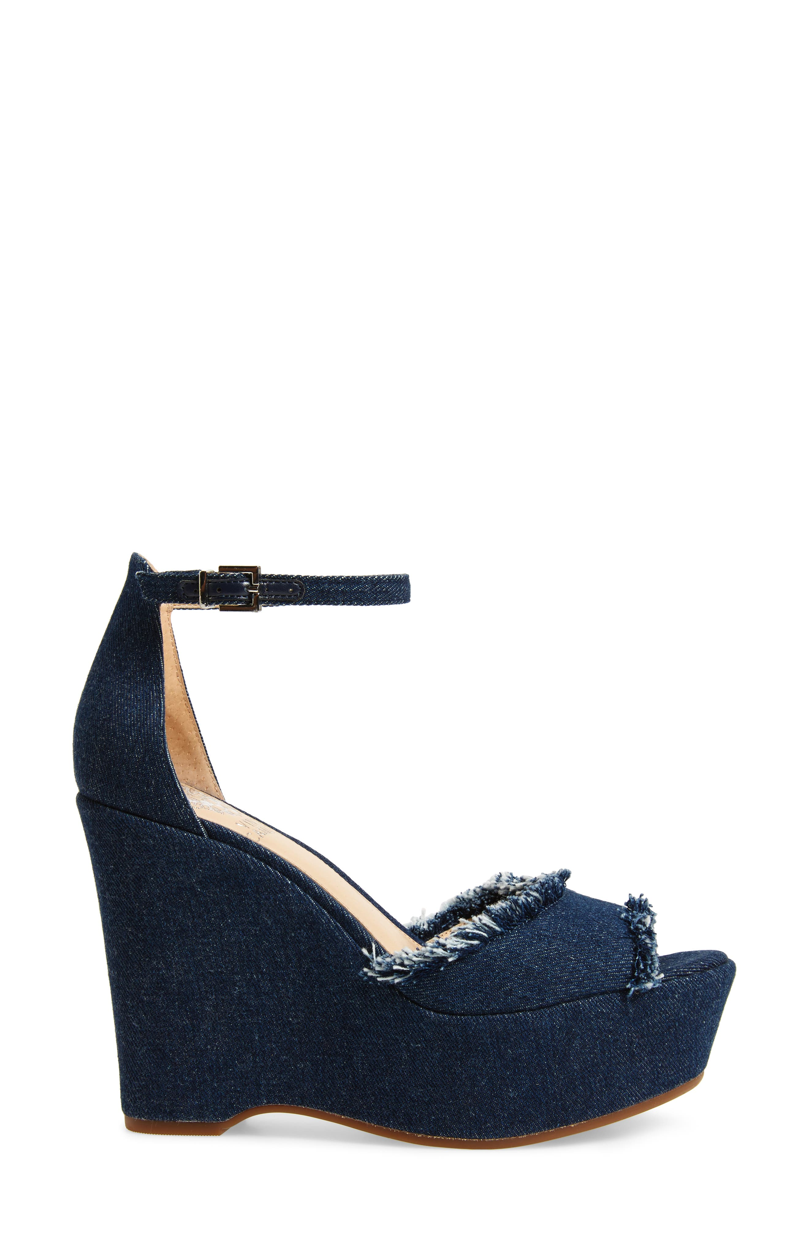 Tatchen Ankle Strap Platform Sandal,                             Alternate thumbnail 3, color,                             Dark Blue Denim